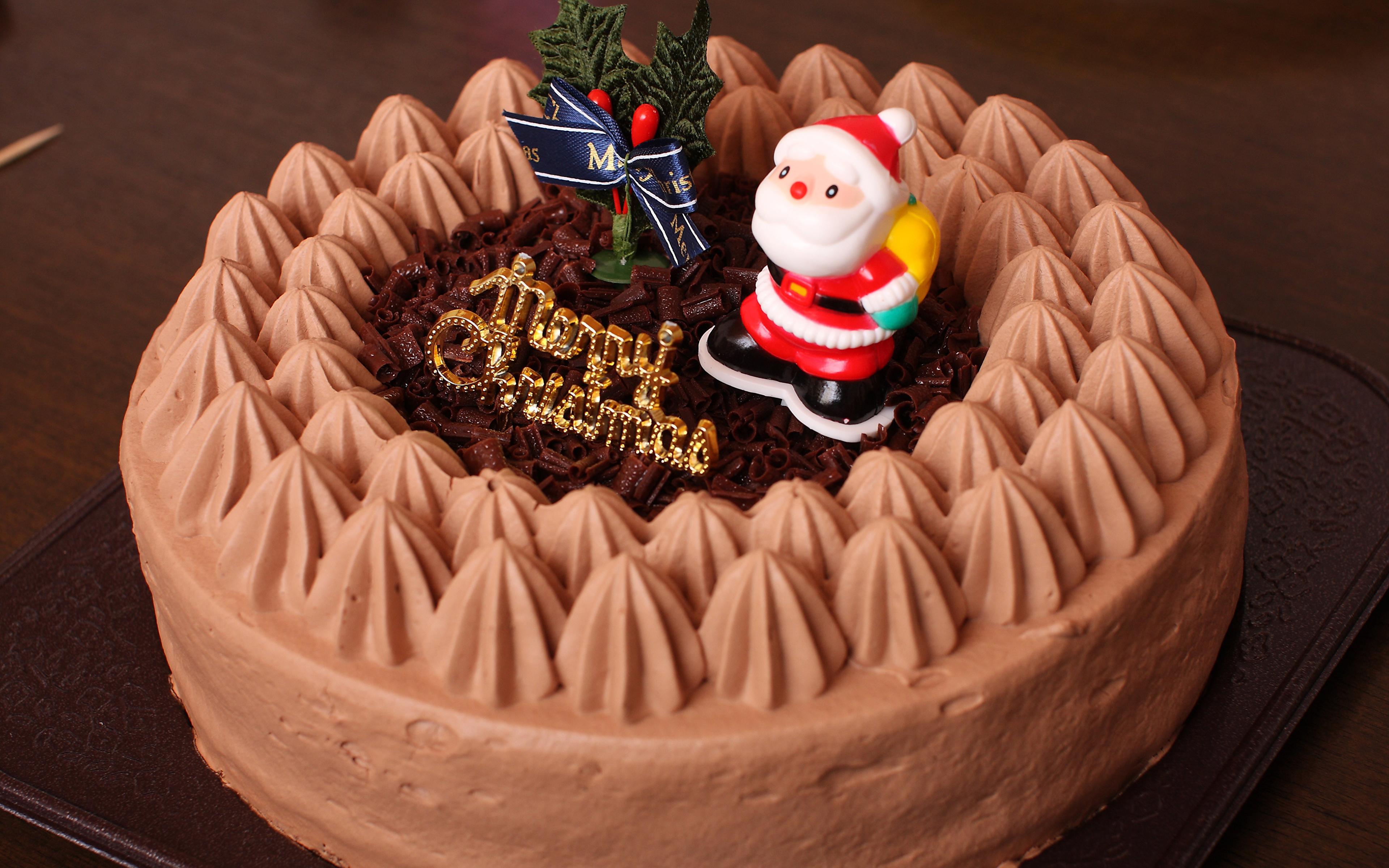 Фотографии Рождество Торты Санта-Клаус Пища Сладости Дизайн 3840x2400 Новый год Дед Мороз Еда Продукты питания дизайна