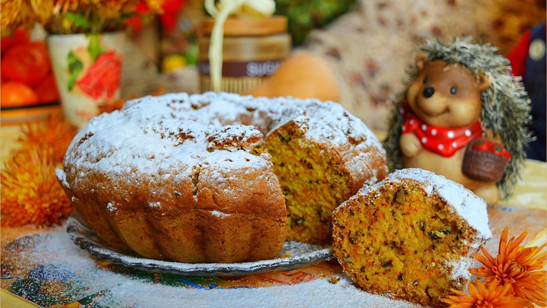 Картинка Пирог Сахарная пудра Кусок Еда 1920x1080 часть Пища Продукты питания