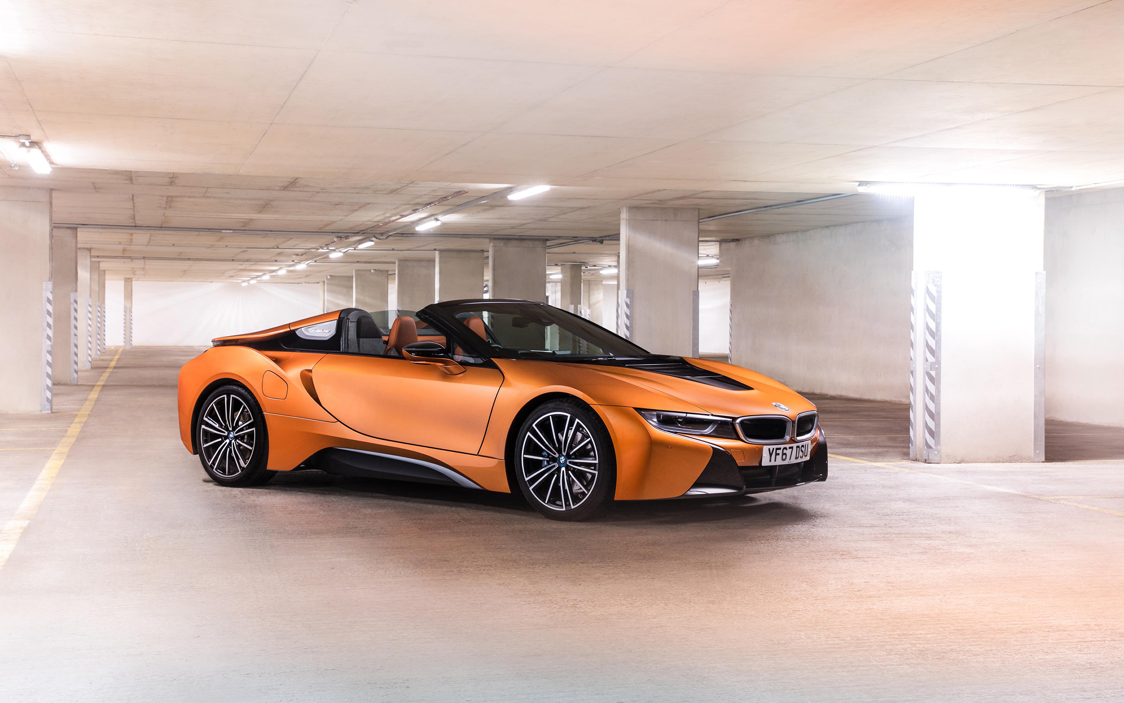 Фото BMW 2018 i8 Roadster Родстер Оранжевый Автомобили 3840x2400 БМВ Авто Машины