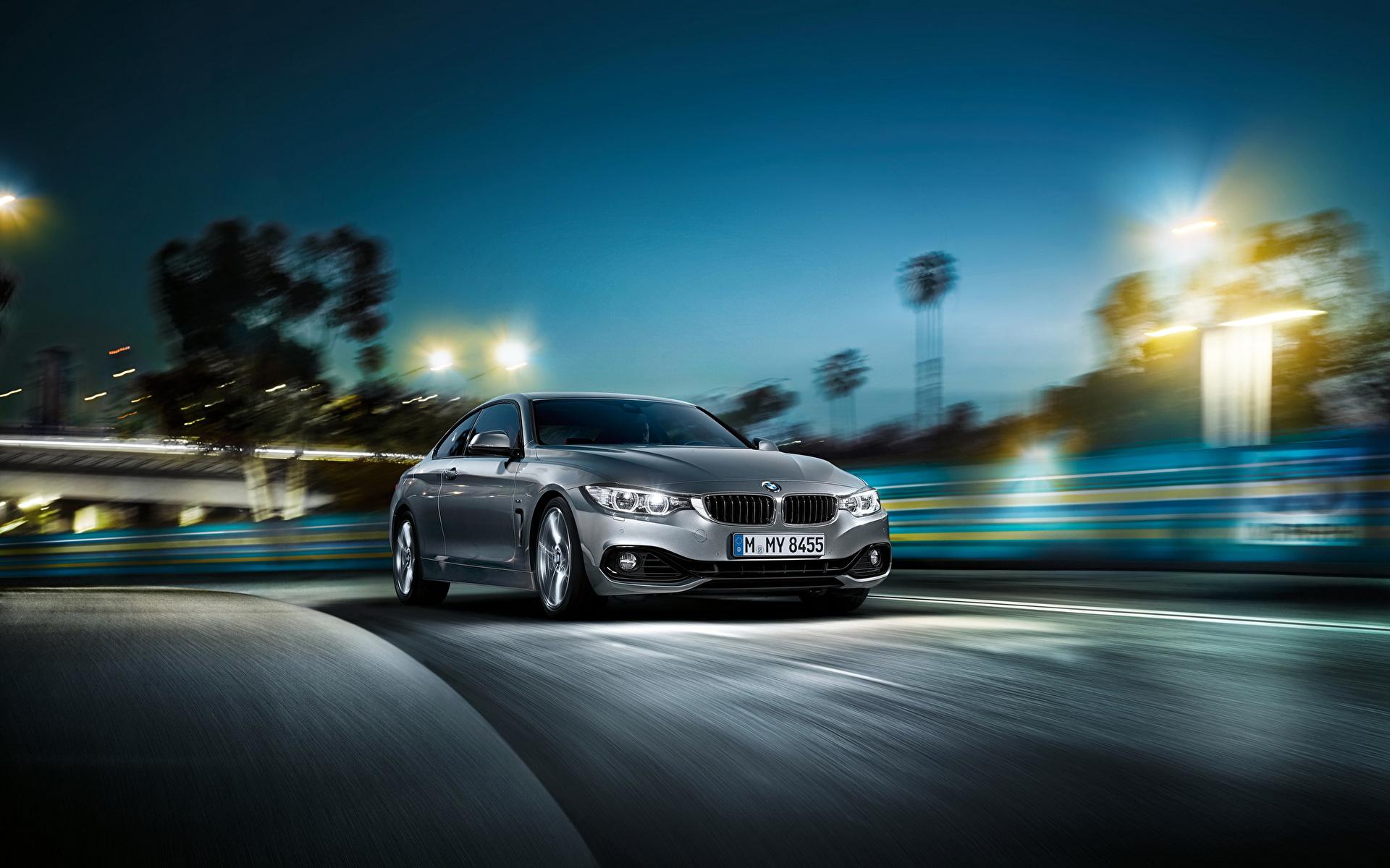 Фотография BMW 2014 bmw 4 series coupe ночью Автомобили 1920x1200 БМВ Ночь авто в ночи Ночные машины машина автомобиль