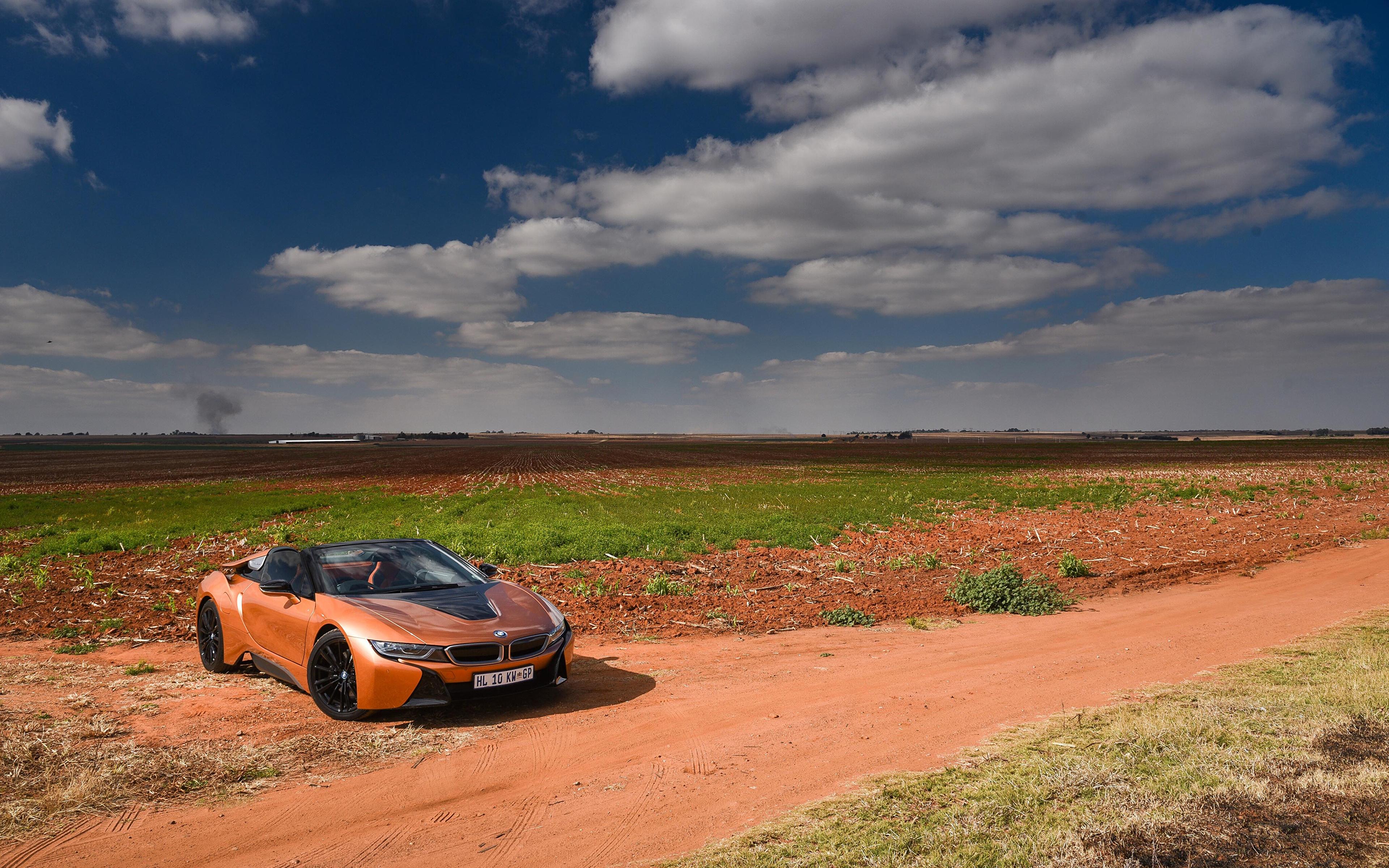 Обои для рабочего стола BMW 2018 i8 Родстер кабриолета Оранжевый автомобиль 3840x2400 БМВ Кабриолет оранжевых оранжевые оранжевая авто машина машины Автомобили
