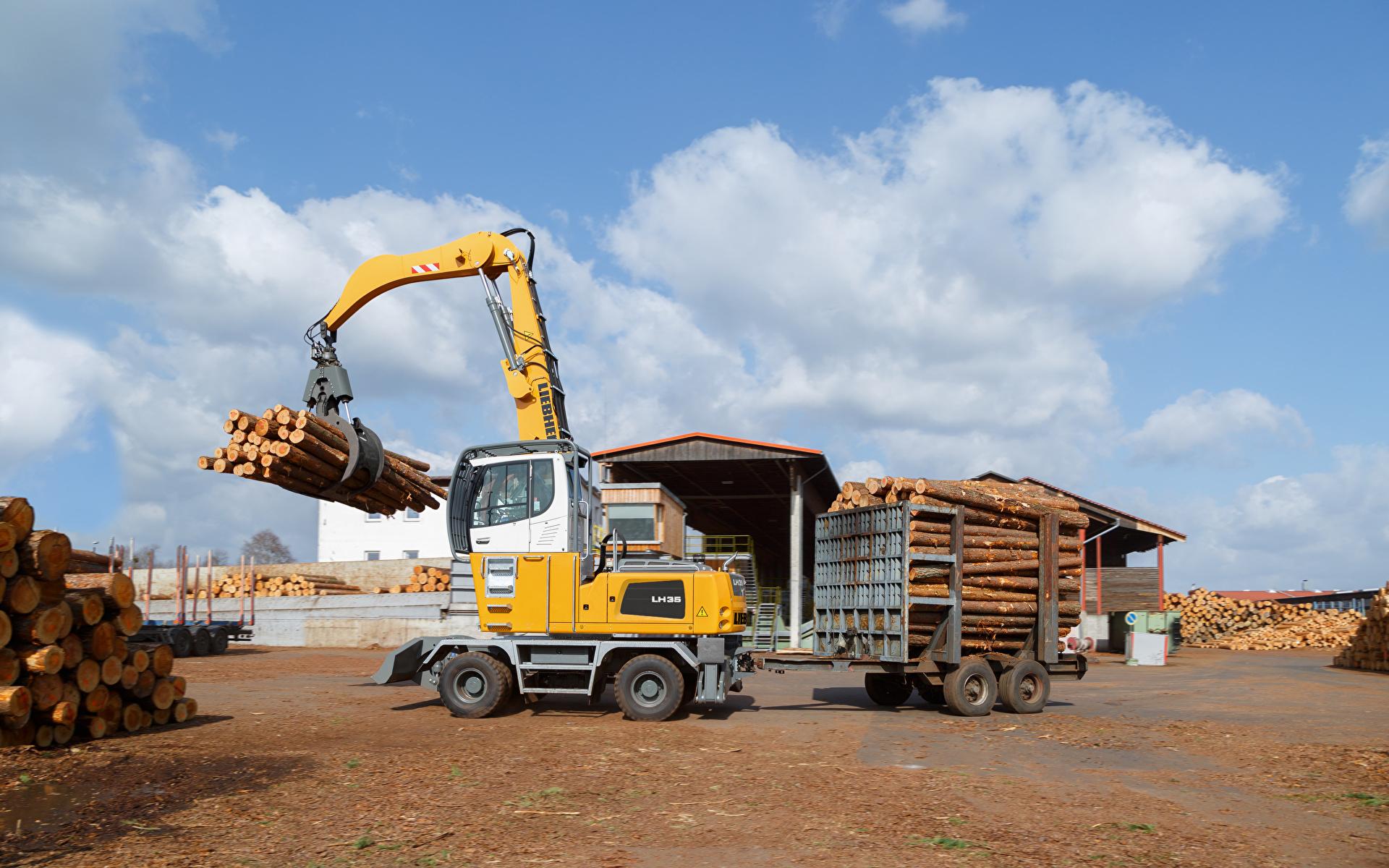 Обои для рабочего стола Форвардер 2015-17 Liebherr LH 35 M Timber Litronic Бревна 1920x1200 бревно