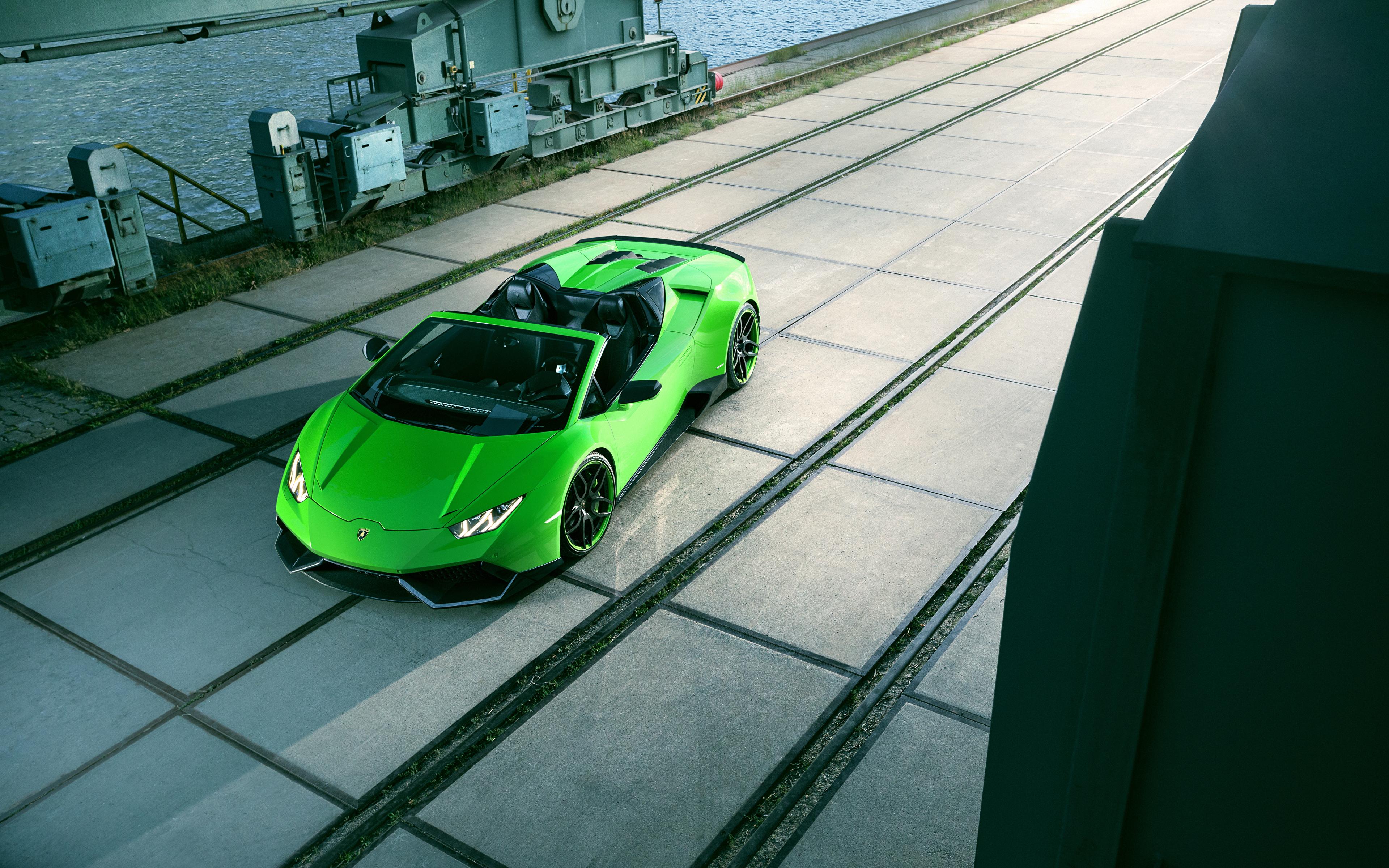 Обои для рабочего стола Lamborghini 2016 Novitec Torado Huracán LP 610-4 Spyder Родстер Салатовый Автомобили 3840x2400 Ламборгини салатовая салатовые желто зеленый авто машина машины автомобиль