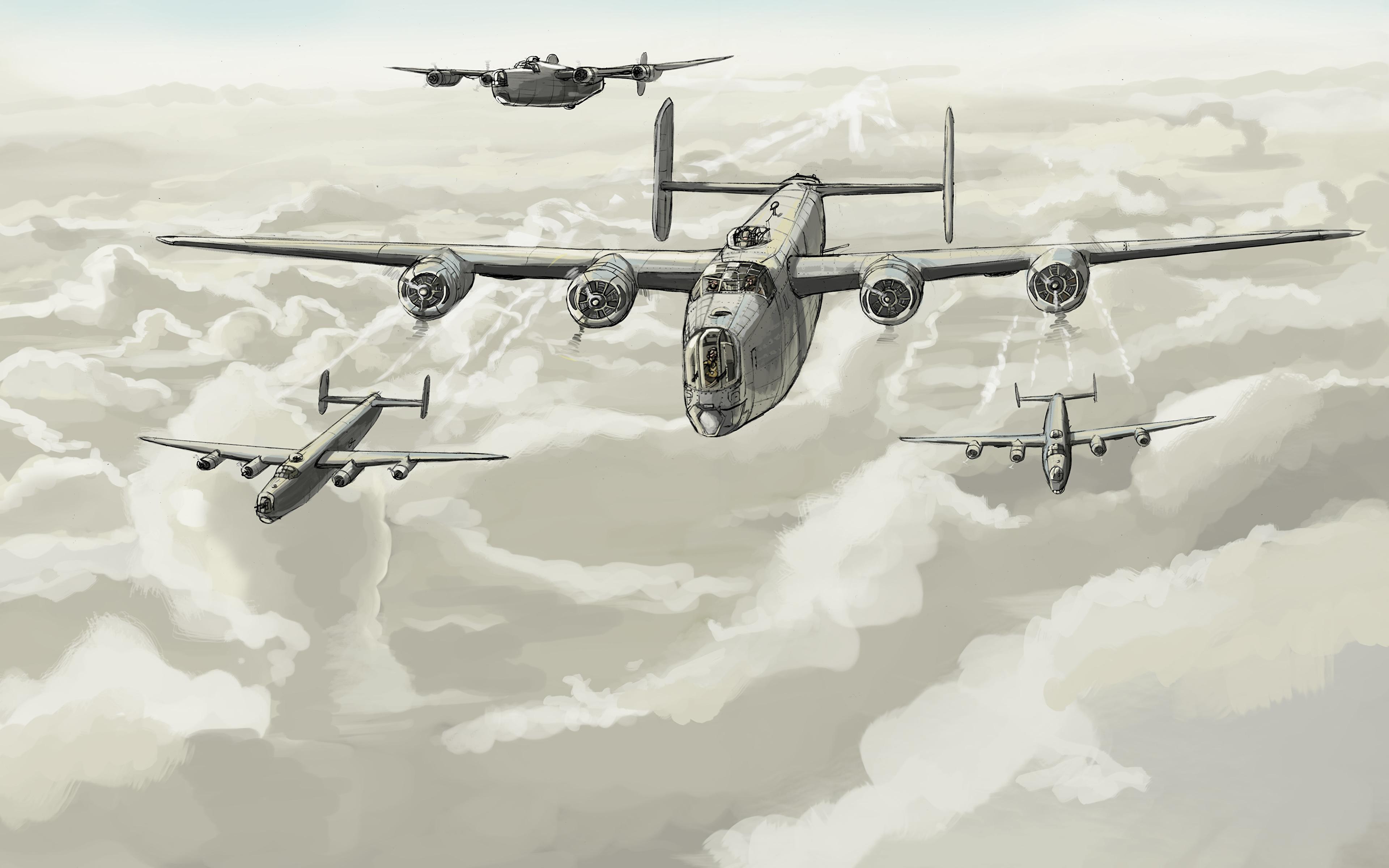Обои бомбардировщик, Облака, Самолёт. Авиация foto 15