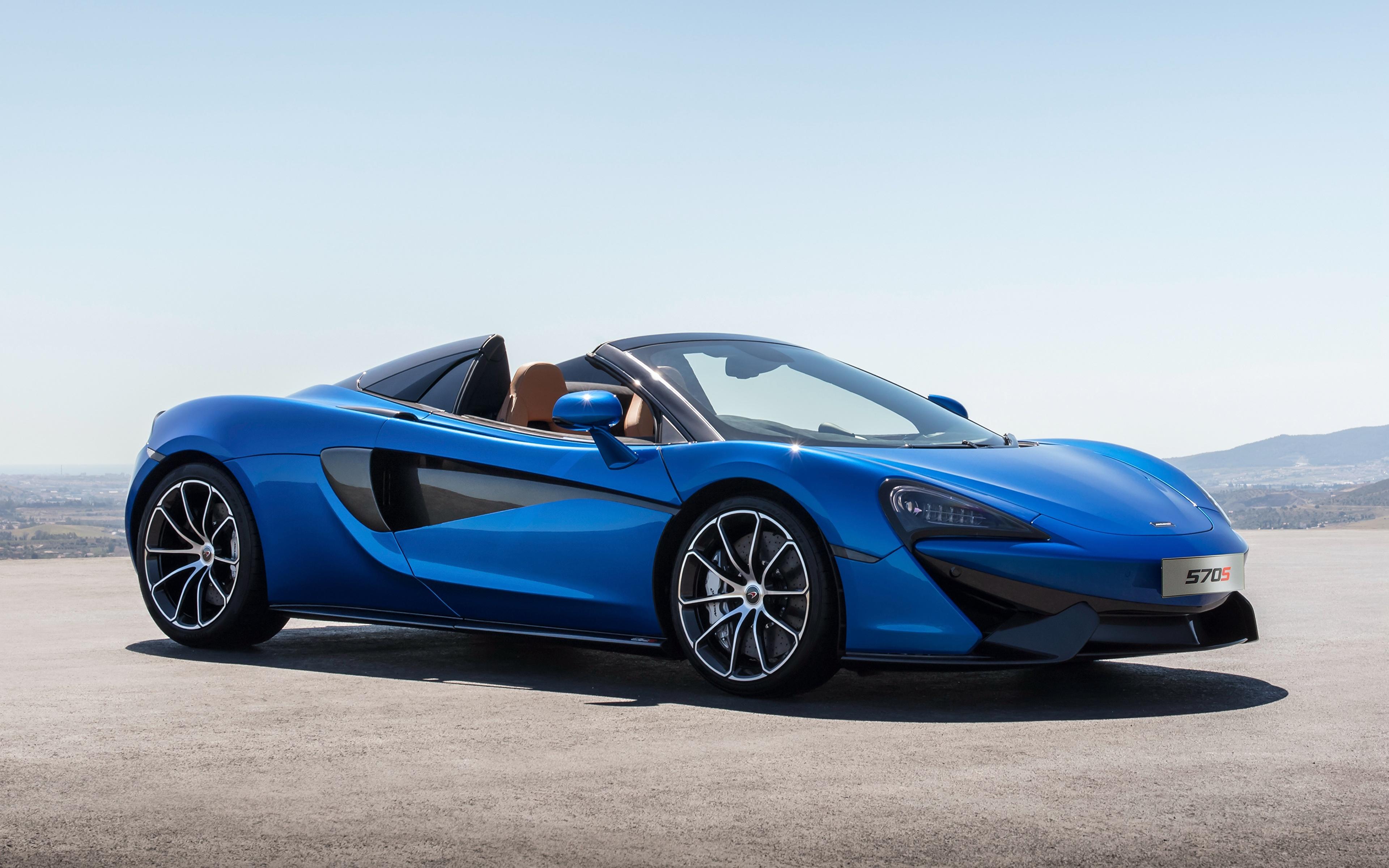 Картинки McLaren 2017 570S Spider Worldwide Родстер синие Автомобили 3840x2400 Макларен синих Синий синяя авто машина машины автомобиль