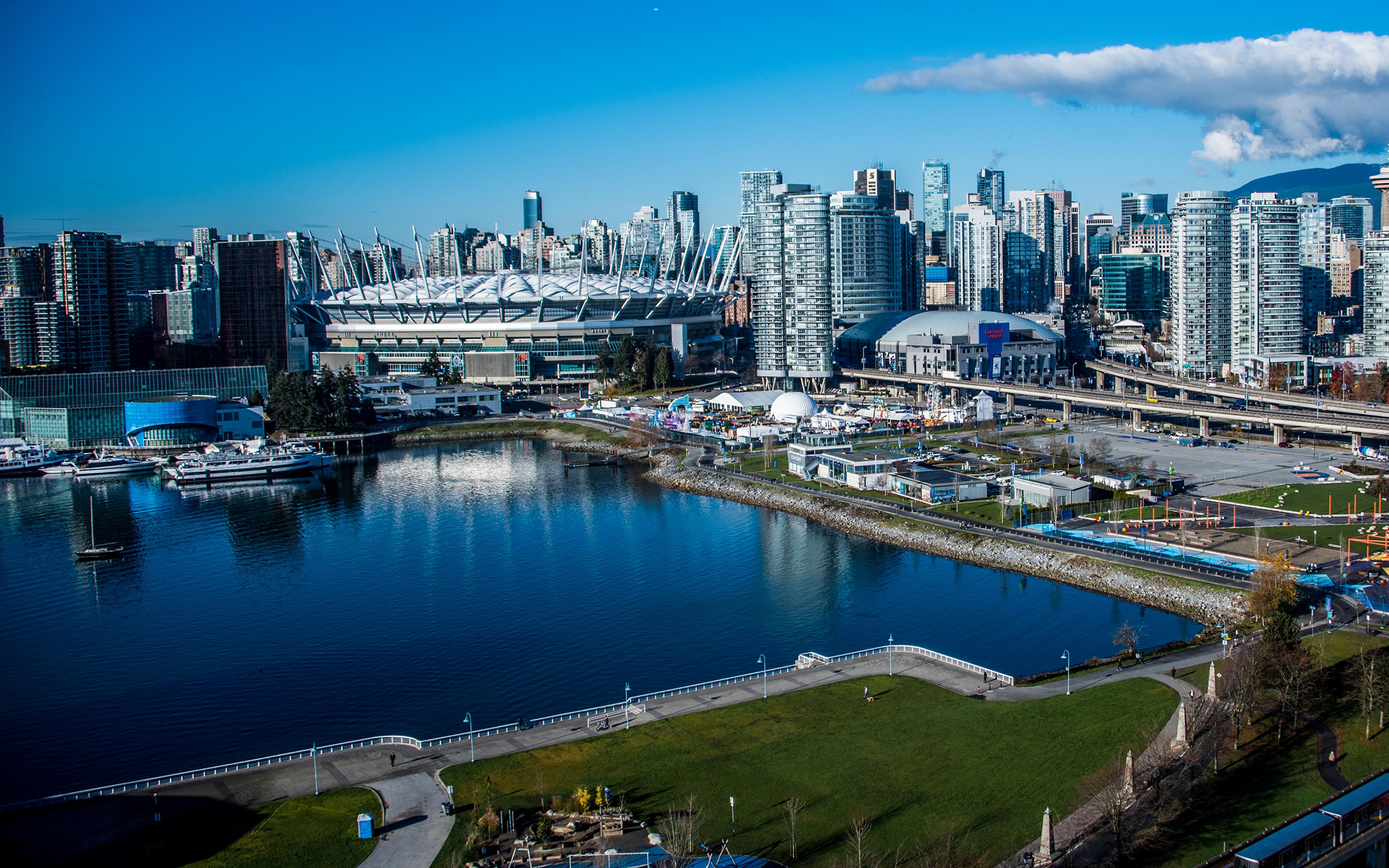 Фото Ванкувер Канада Залив Причалы город Здания 3840x2400 Пирсы залива заливы Пристань Дома Города