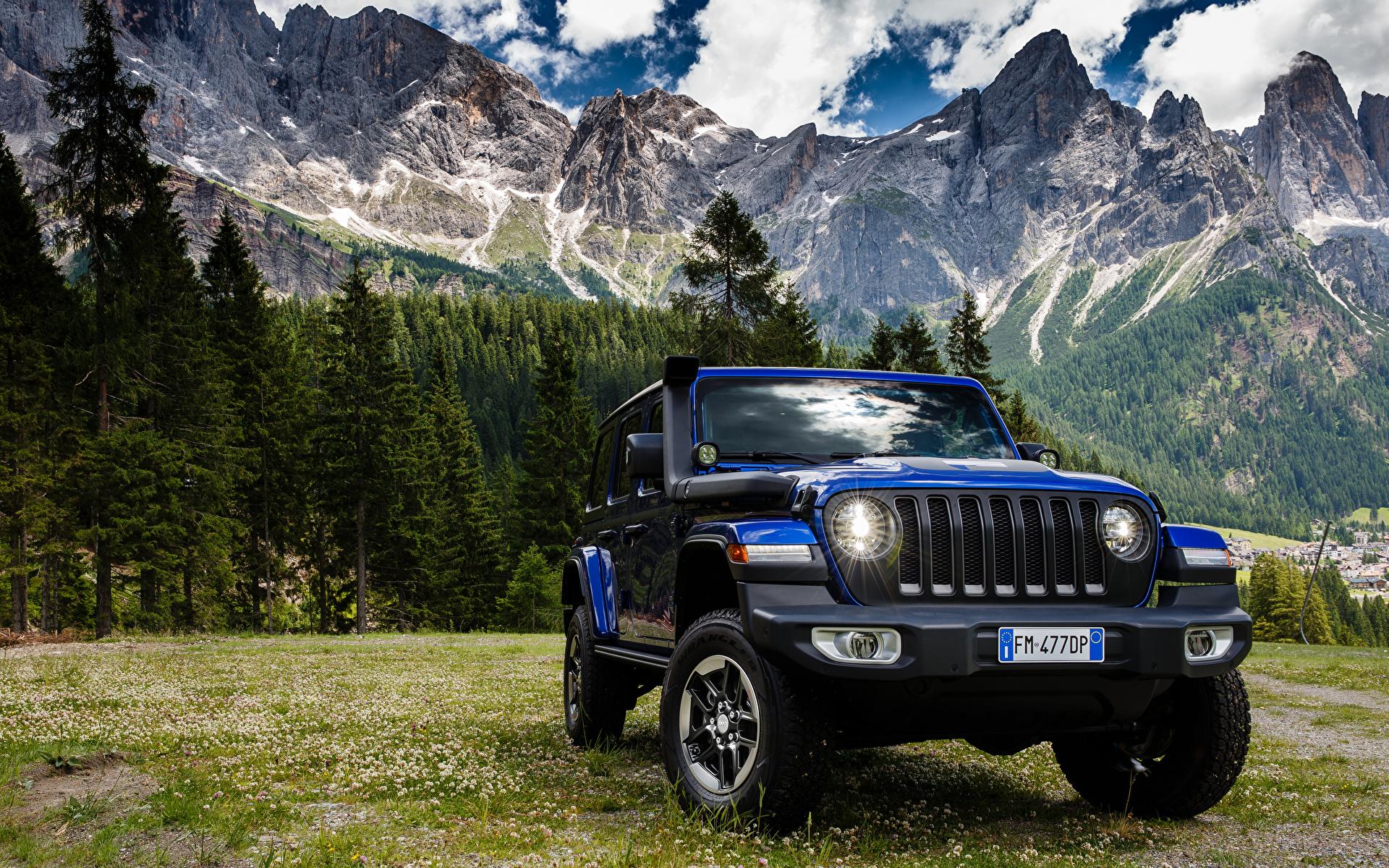 Обои для рабочего стола Jeep SUV 2019 Wrangler Unlimited Sahara 1941 by Mopar синих Автомобили 1920x1200 Джип Внедорожник синяя синие Синий авто машины машина автомобиль