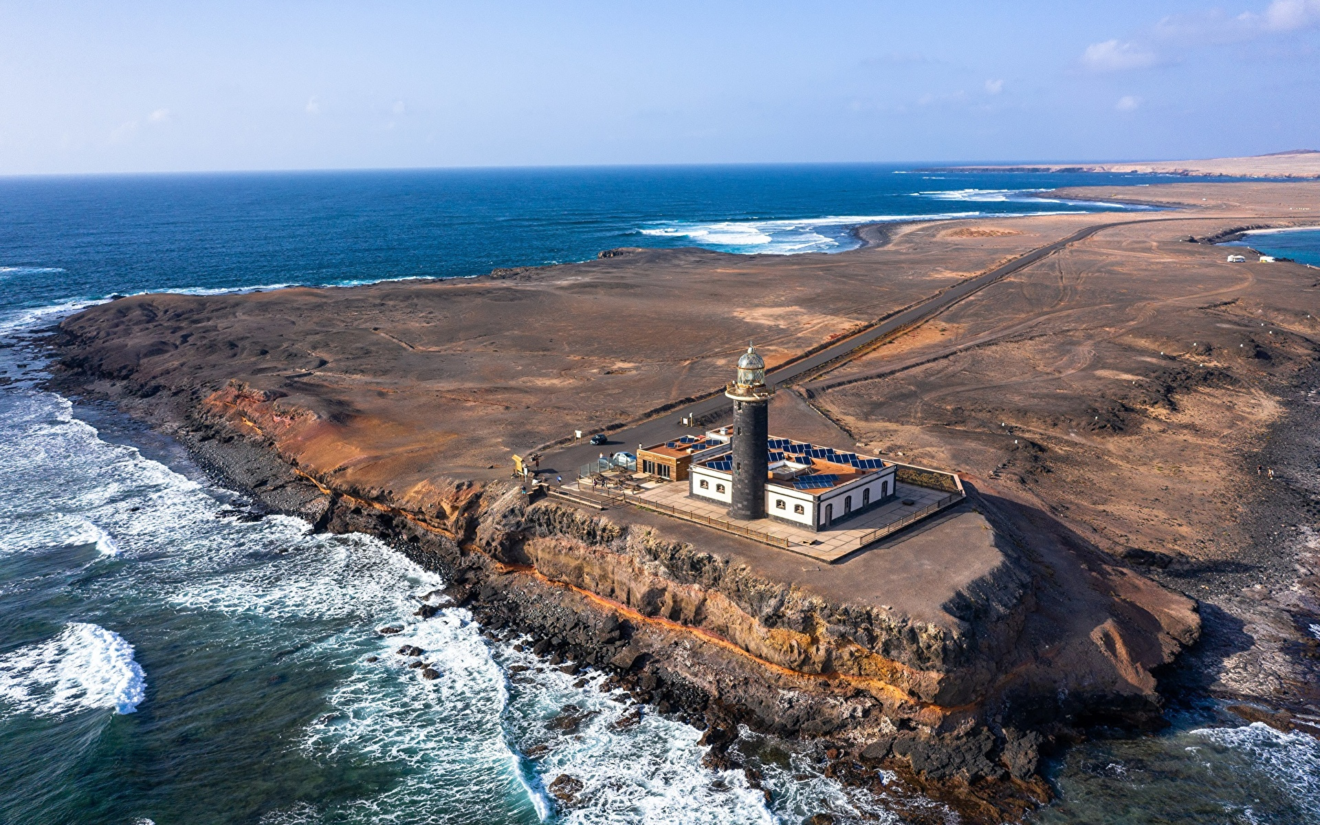Картинки Канары Испания Fuerteventura, Punta Jandía Lighthouse Океан Маяки Природа Сверху 1920x1200 канарские острова маяк