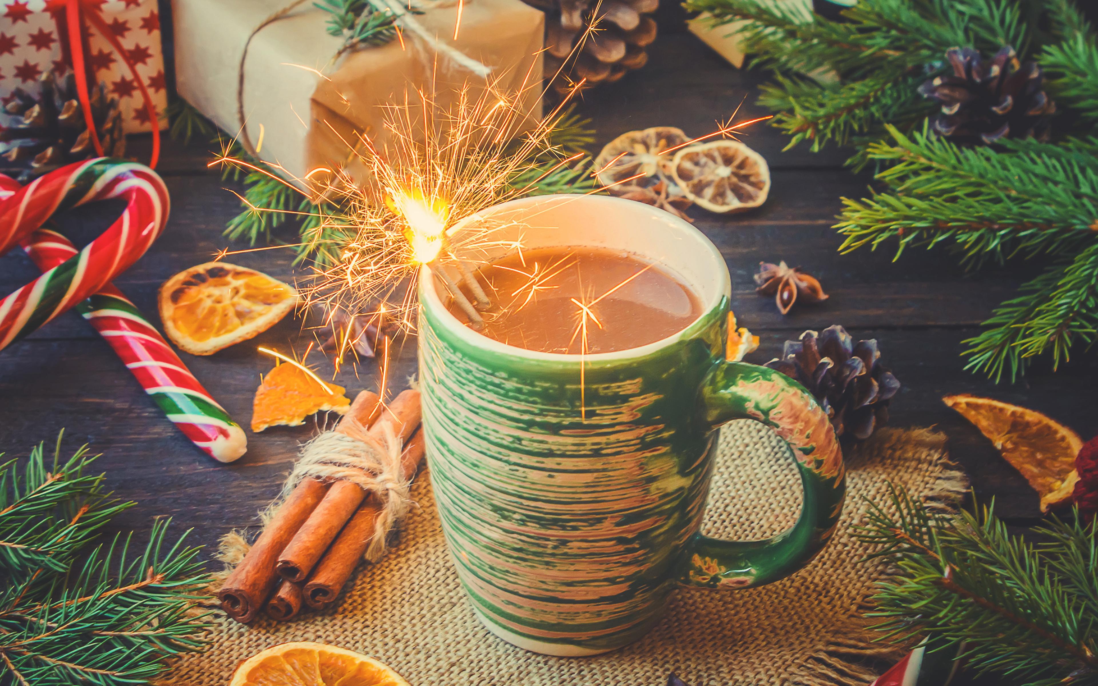 Фотография Новый год Бенгальские огни Какао напиток Корица Еда чашке сладкая еда 3840x2400 Рождество Горячий шоколад Пища Чашка Продукты питания Сладости