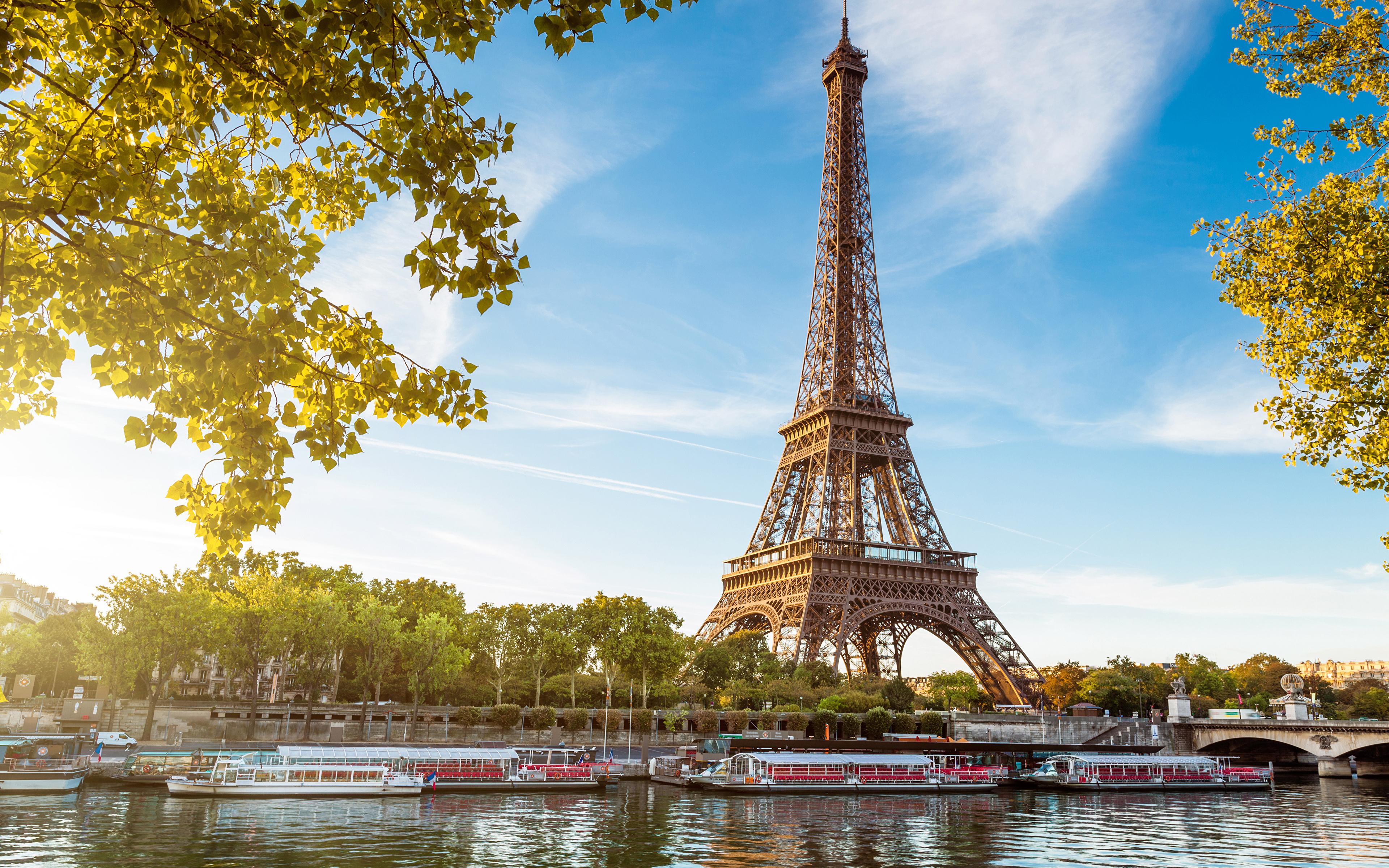 Фотографии Париж Эйфелева башня Франция Речные суда Города 3840x2400