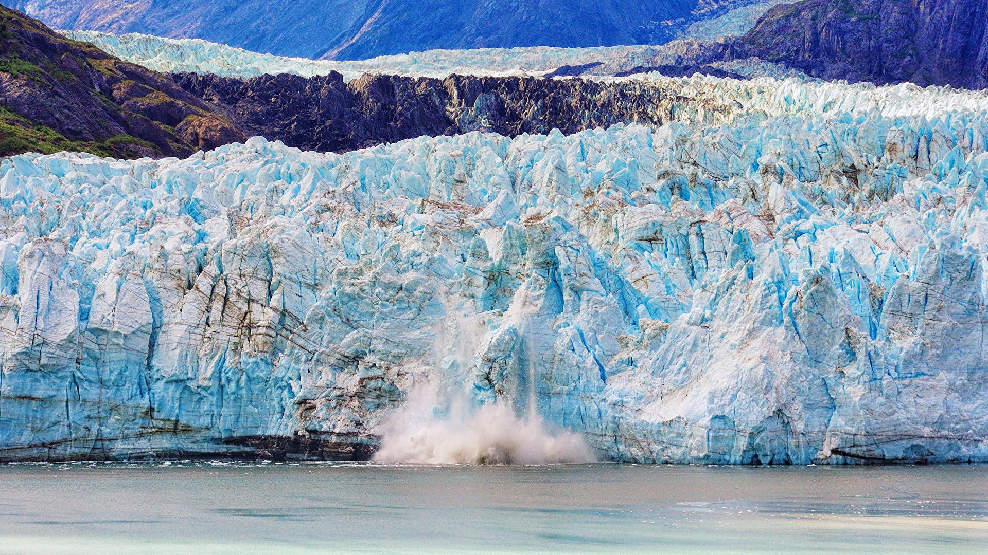 Картинки Лед гора Море Природа 1920x1080 льда Горы