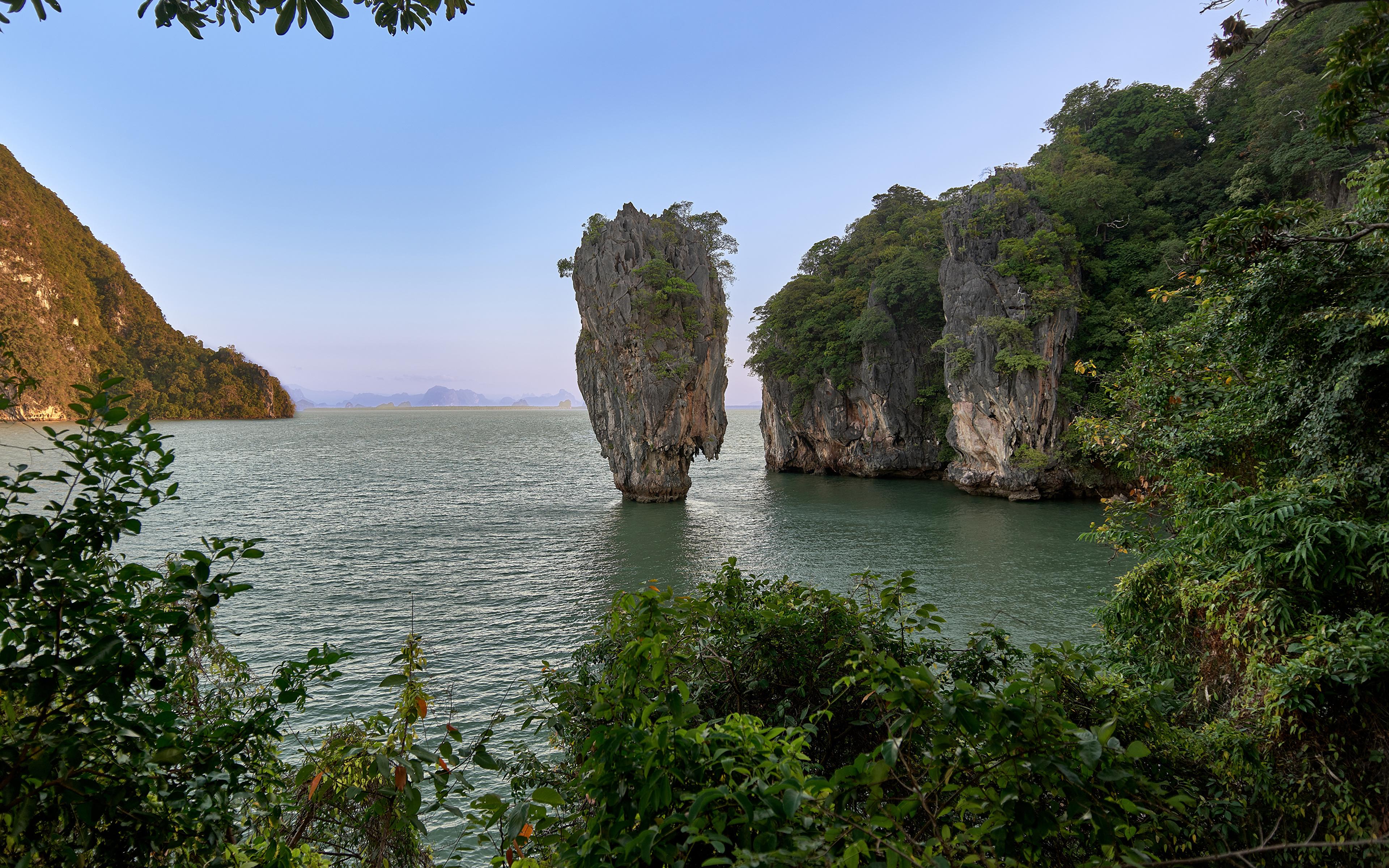 Фотография Таиланд Khao Phing Kan скале Природа Парки Залив 3840x2400 Утес Скала скалы парк залива заливы