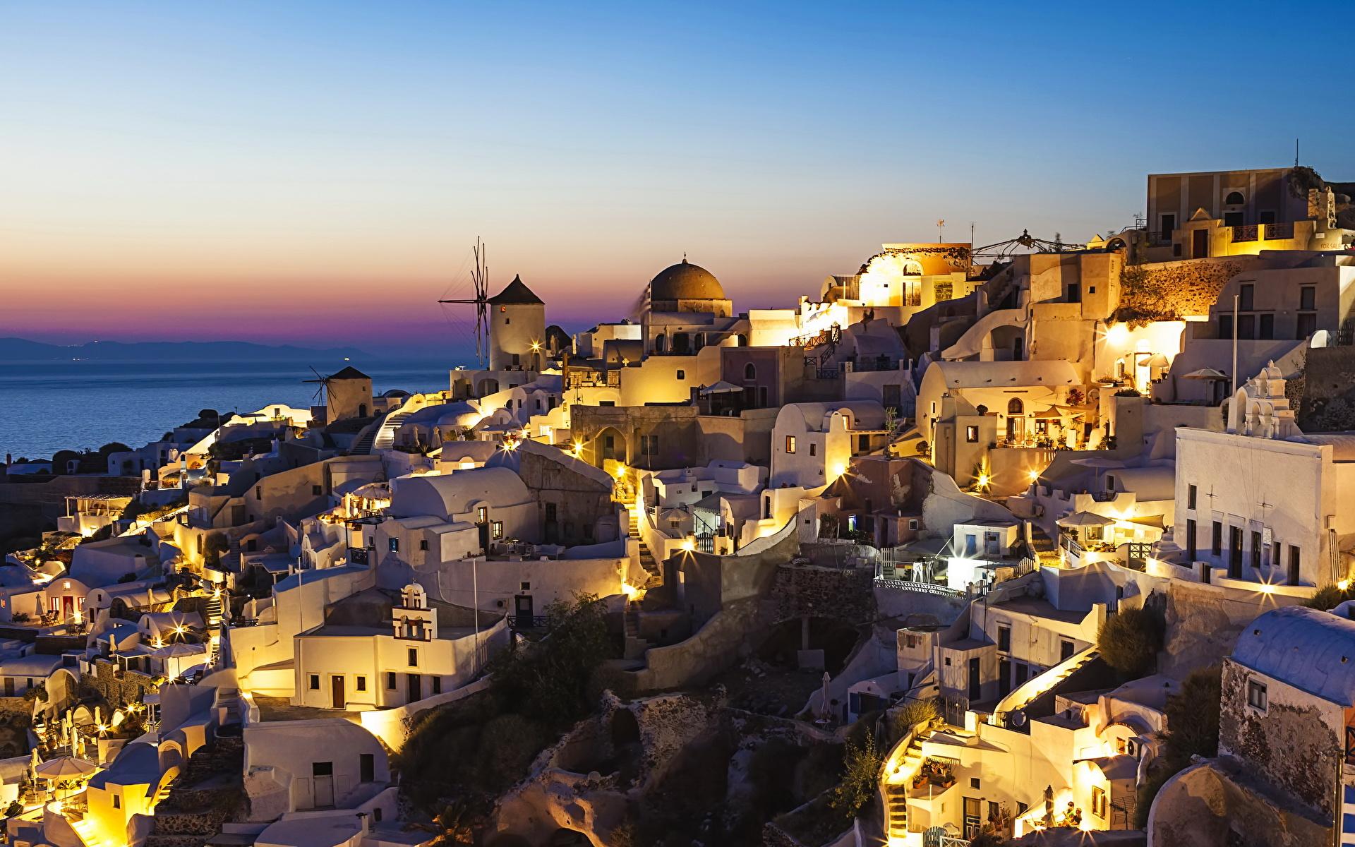 Фотографии Санторини Греция ночью Здания Города 1920x1200 Тира Фира Ночь в ночи Ночные Дома город