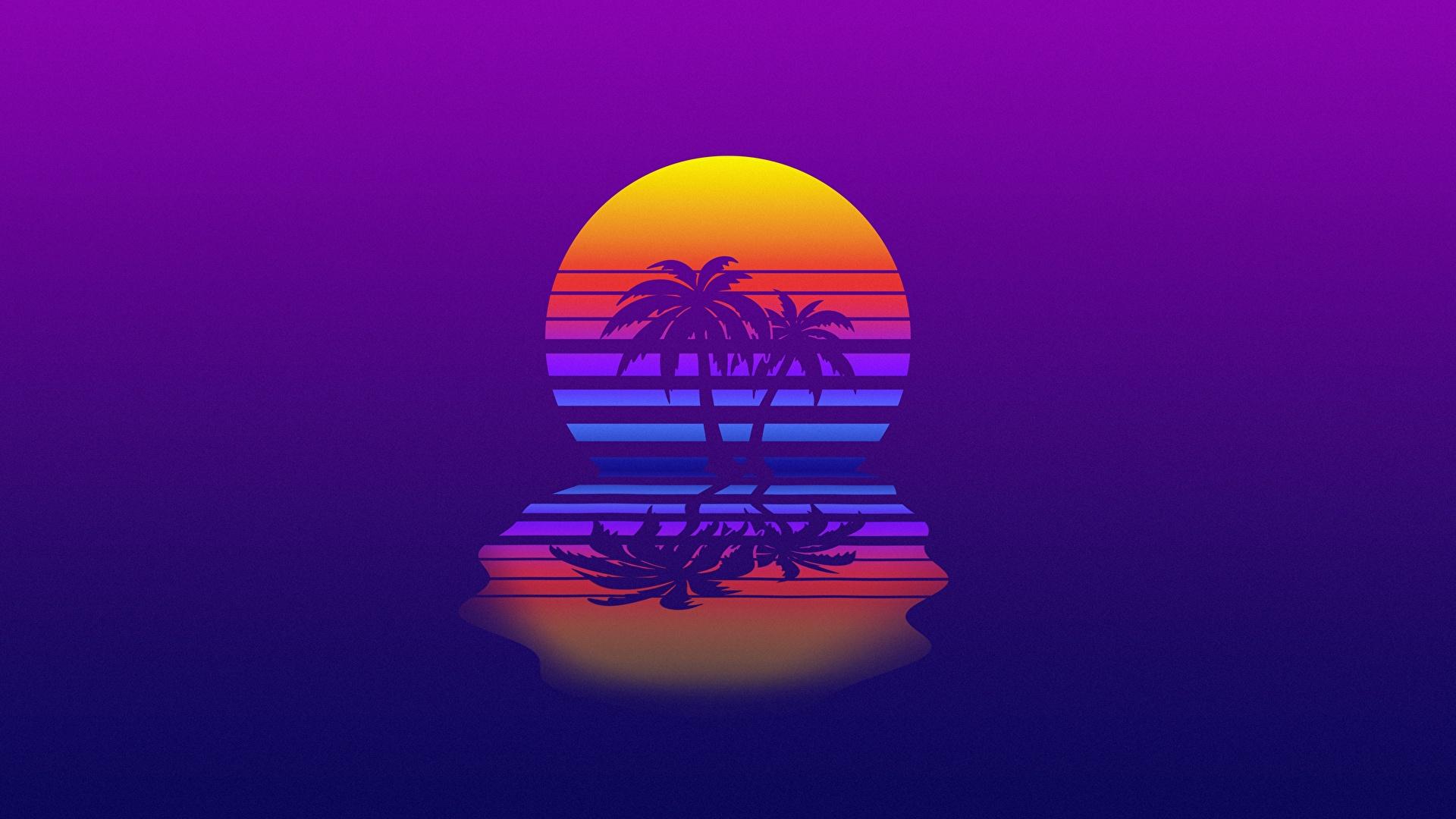 Картинка Ретровейв солнца Природа пальм Отражение 1920x1080 Синтвейв Солнце пальма Пальмы отражении отражается