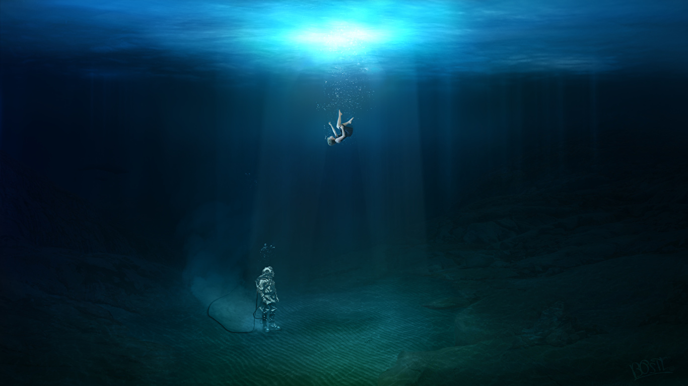 Обои для рабочего стола Лучи света Девочки Подводный мир diving Фантастика Рисованные 1366x768 девочка Фэнтези