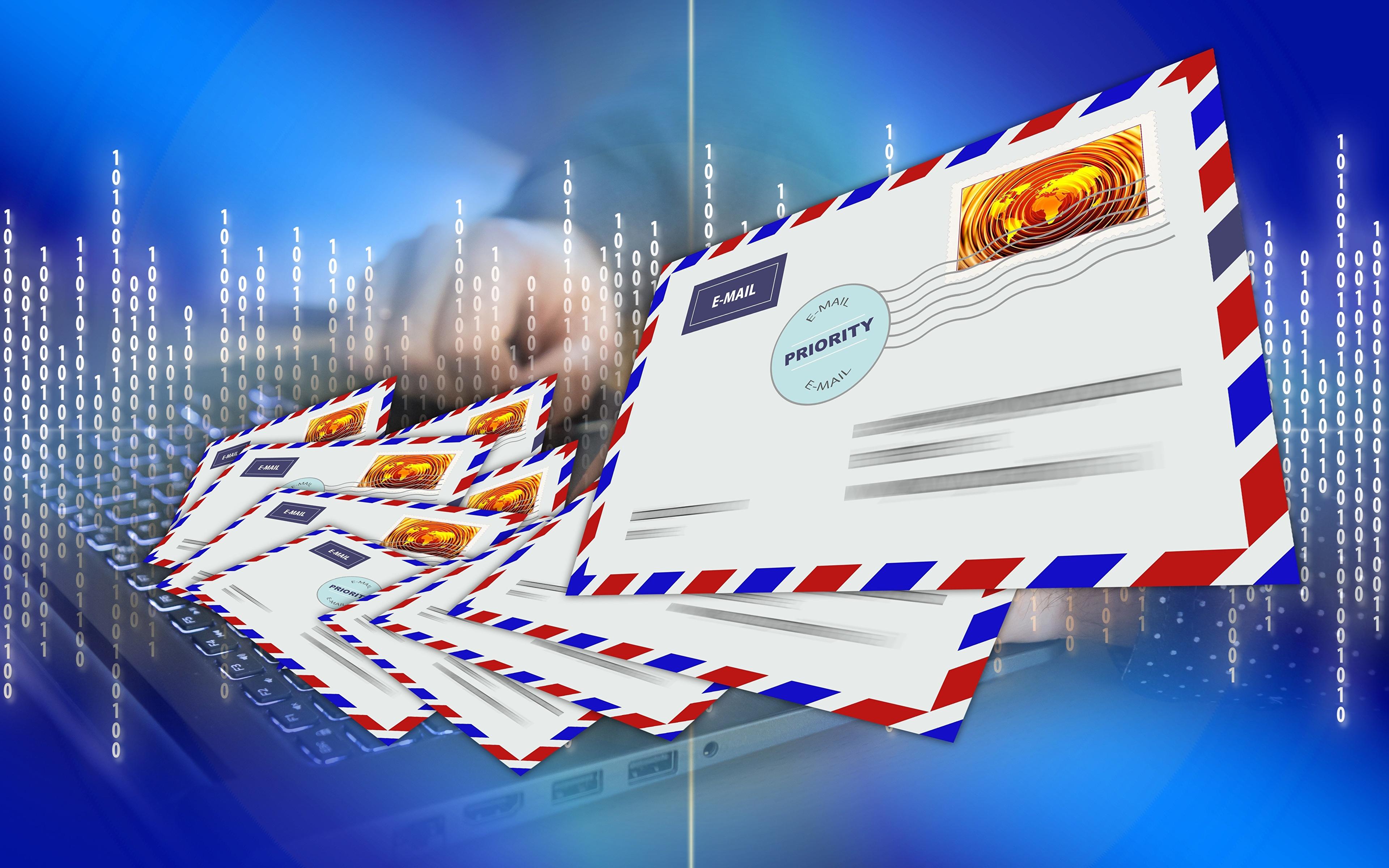 Обои для рабочего стола Конверт post, Postal envelope письма Много Векторная графика 3840x2400 Письмо