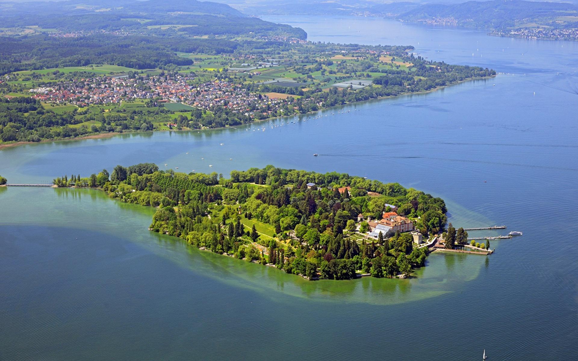 Фотографии Германия lake Mainau, Bodensee Природа Озеро Остров Сверху 1920x1200