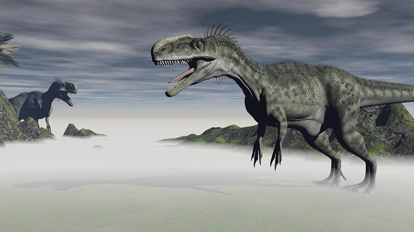 Обои для рабочего стола Тираннозавр рекс динозавр 3D Графика 1366x768 Динозавры 3д