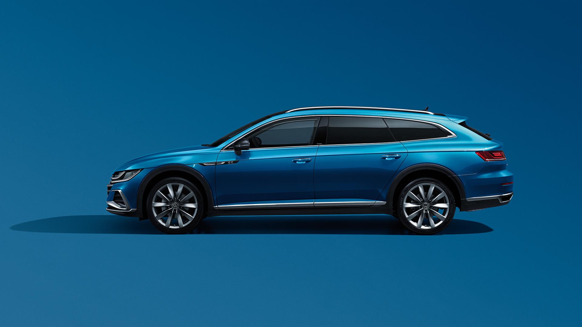 Фотографии Volkswagen Универсал CC Shooting Brake 380 TSI, China, 2020 Синий Сбоку Металлик Автомобили Цветной фон 1920x1080 Фольксваген синяя синие синих авто машины машина автомобиль