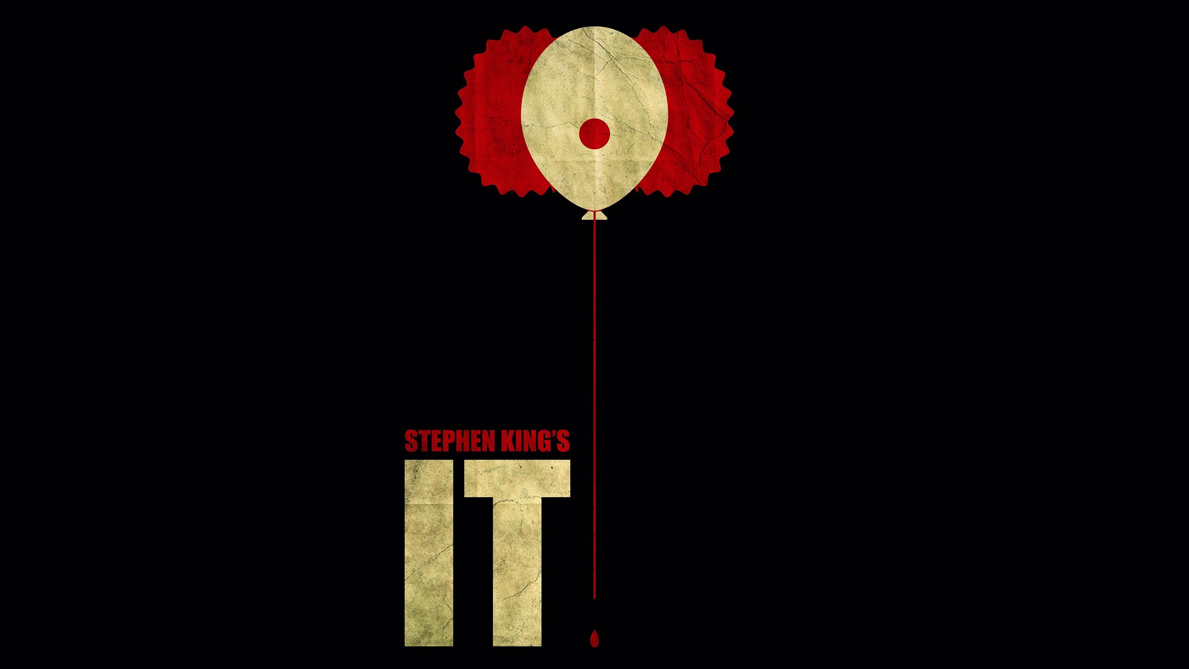 Картинки Оно 2017 Stephen King кино на черном фоне 3840x2160 Фильмы Черный фон