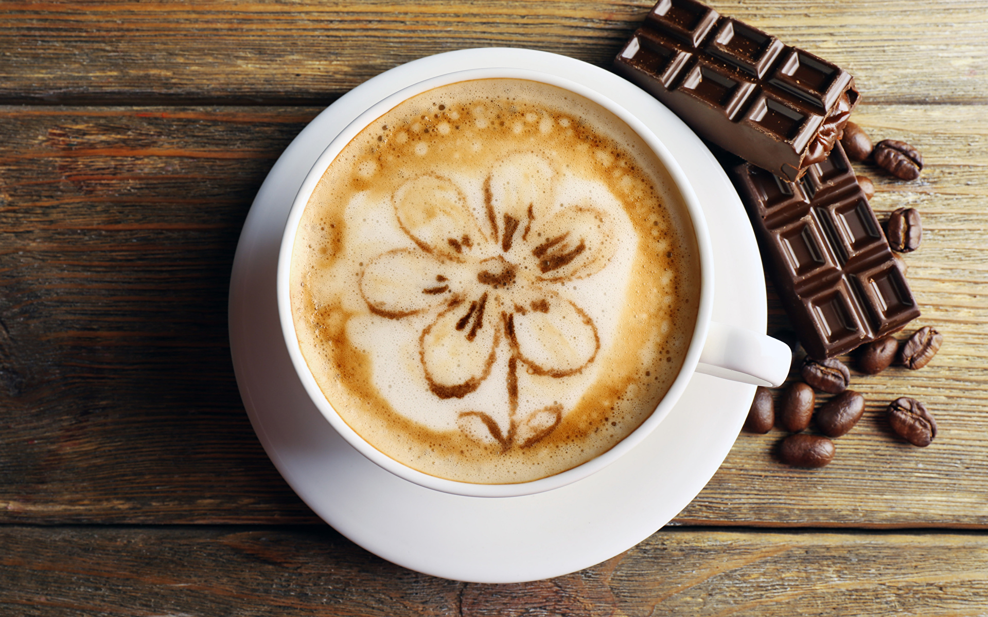 Фото Шоколад Кофе Капучино Зерна Чашка Продукты питания Доски 1920x1200 Еда Пища