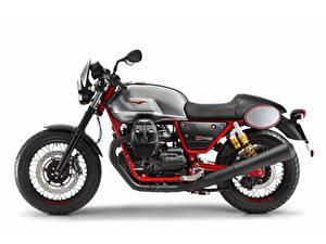 Обои для рабочего стола Белый фон Сбоку 2017-20 Moto Guzzi V7 III Racer мотоцикл