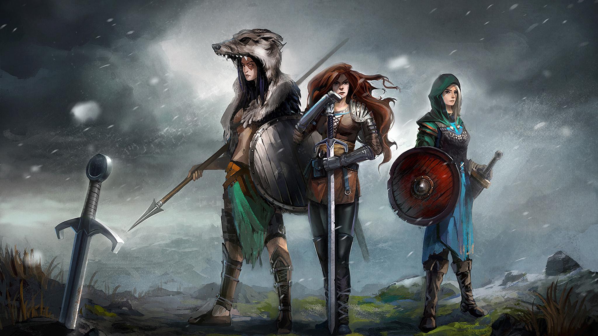 девушка-викинг меч небо подборки