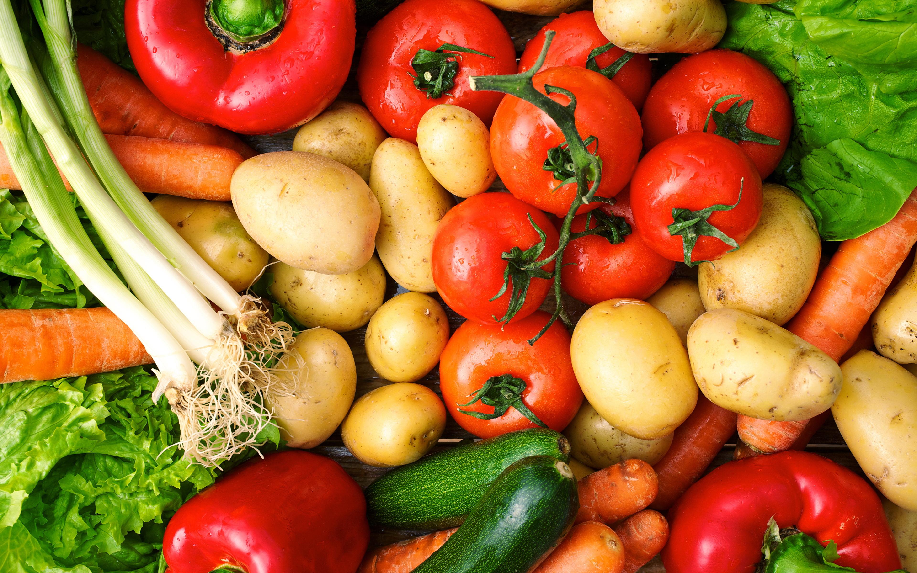 Картинка Помидоры морковка Картофель Лук репчатый Овощи Продукты питания 3840x2400 Томаты Морковь картошка Еда Пища