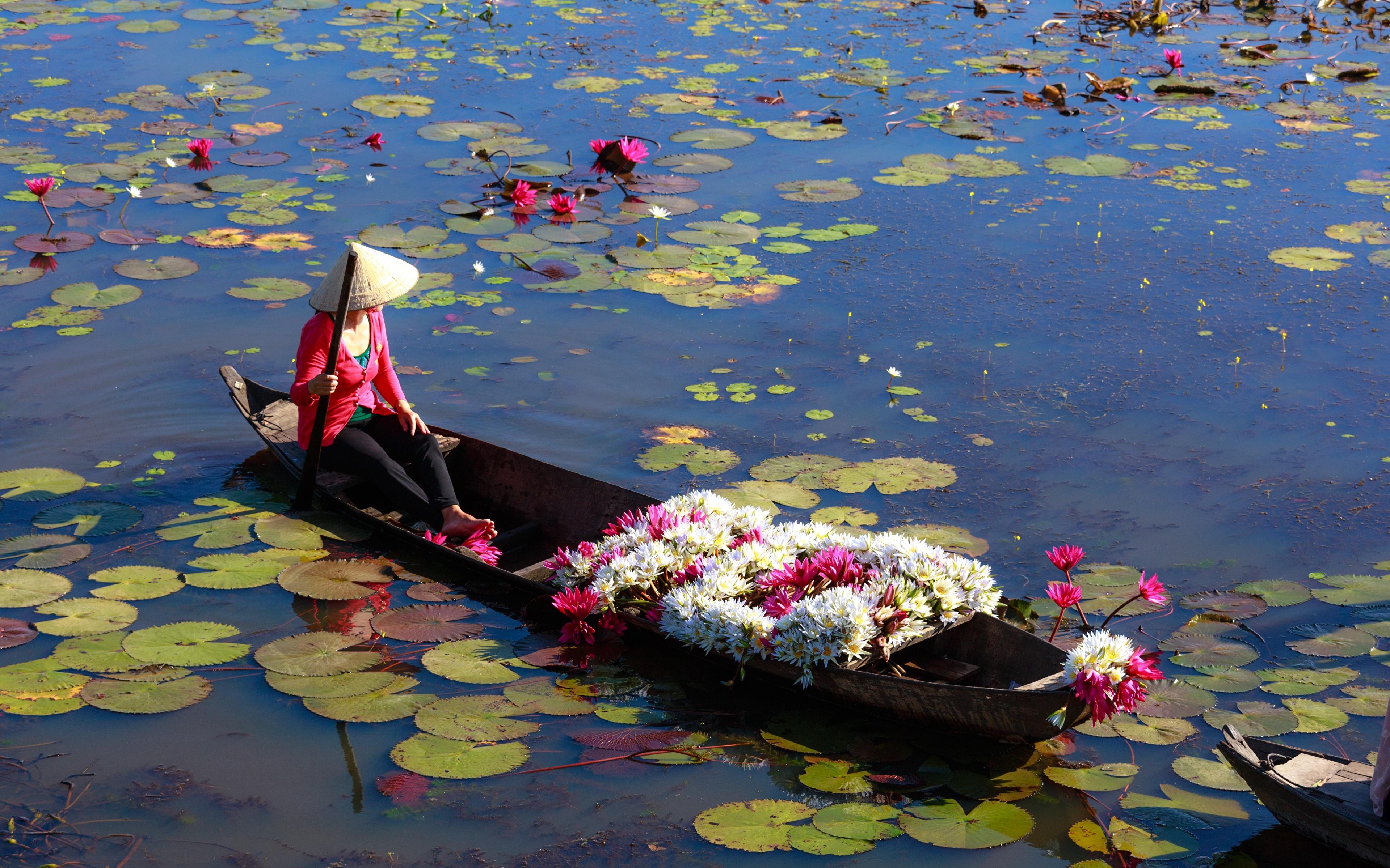 Фотография Работа шляпе Озеро Азиаты цветок Кувшинки Лодки 3840x2400 работают работает Шляпа шляпы Цветы азиатка азиатки Водяные лилии