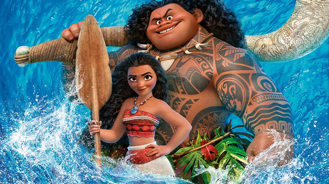Обои для рабочего стола Моана Татуировки Maui Девушки Мультики 1366x768 тату татуировка девушка мультик Мультфильмы молодая женщина молодые женщины