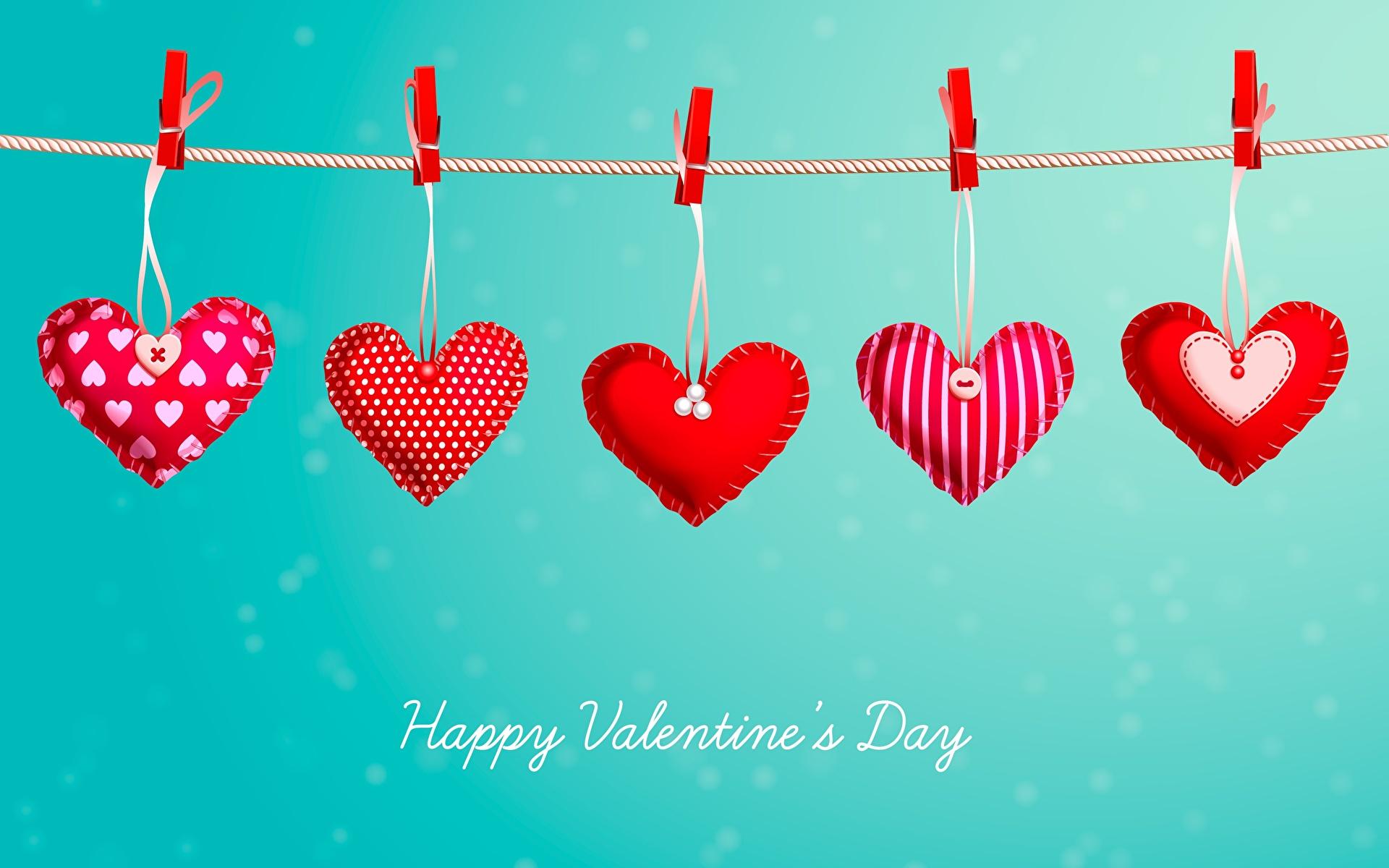 Фотографии День всех влюблённых Английский Сердце Прищепки Слово - Надпись 1920x1200 День святого Валентина английская инглийские серце сердца сердечко слова текст