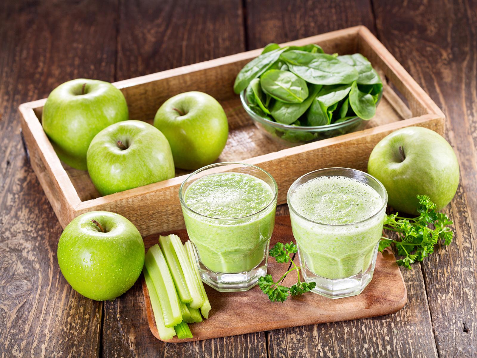 Картинка Смузи Яблоки стакане Еда Овощи Доски 1600x1200 Стакан стакана Пища Продукты питания