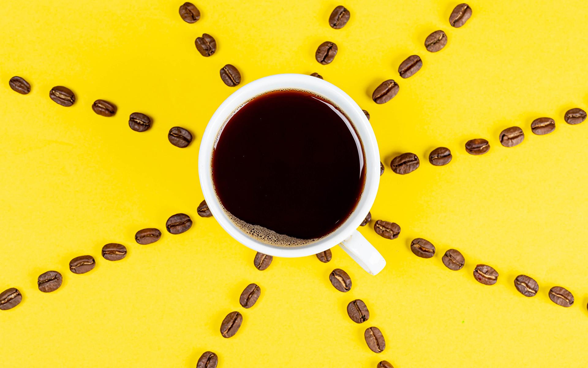 Картинка Кофе Зерна чашке Сверху Продукты питания Цветной фон 1920x1200 зерно Еда Пища Чашка