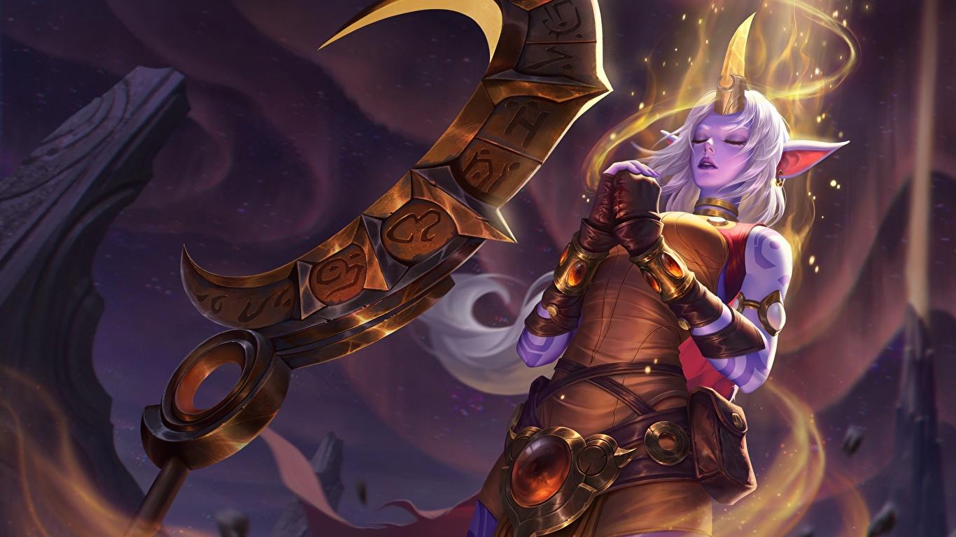 Картинки LOL Soraka Фэнтези Девушки Игры 1366x768 League of Legends девушка Фантастика молодая женщина молодые женщины компьютерная игра