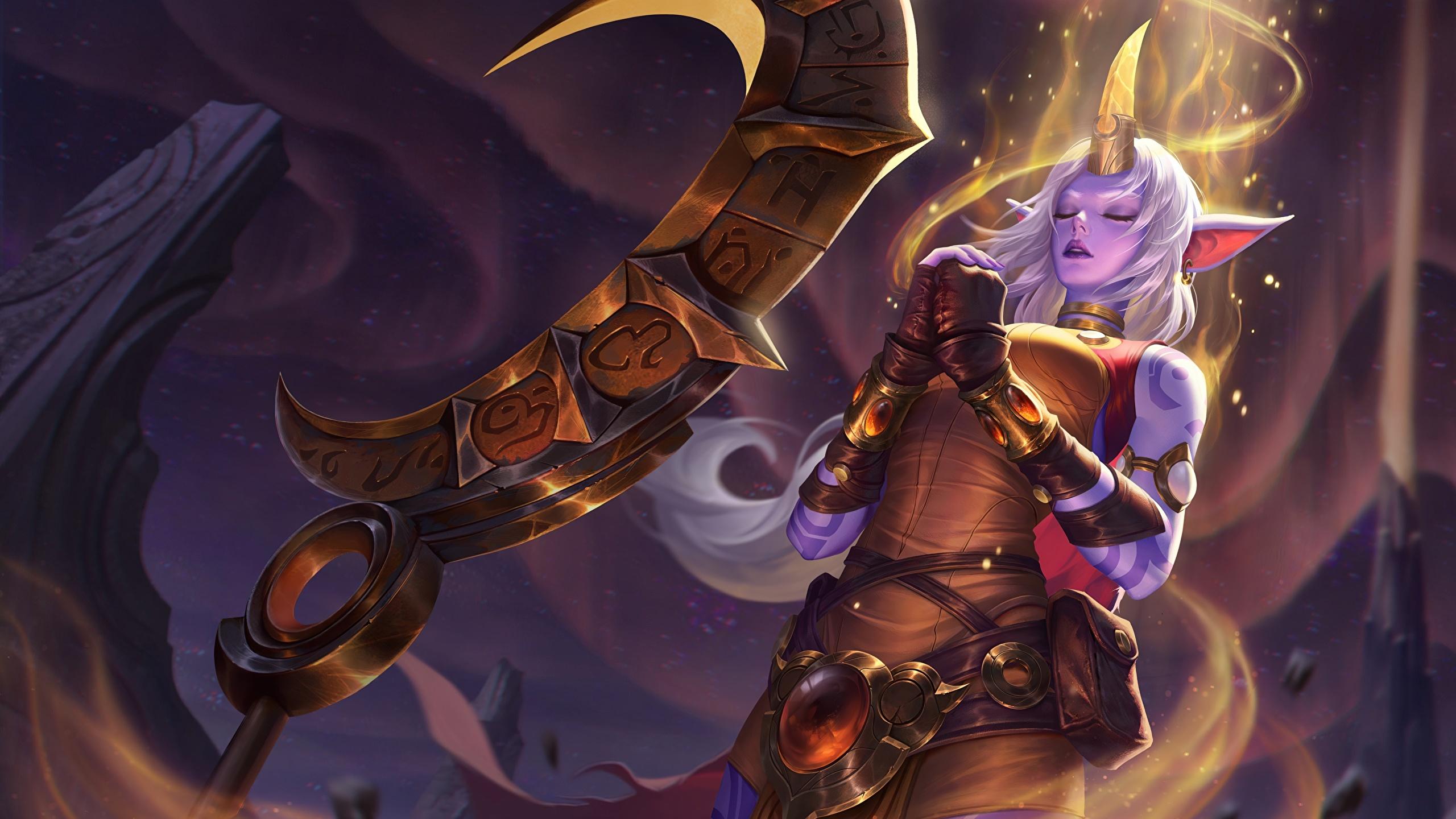 Картинки LOL Soraka Фэнтези Девушки Игры 2560x1440 League of Legends девушка Фантастика молодая женщина молодые женщины компьютерная игра