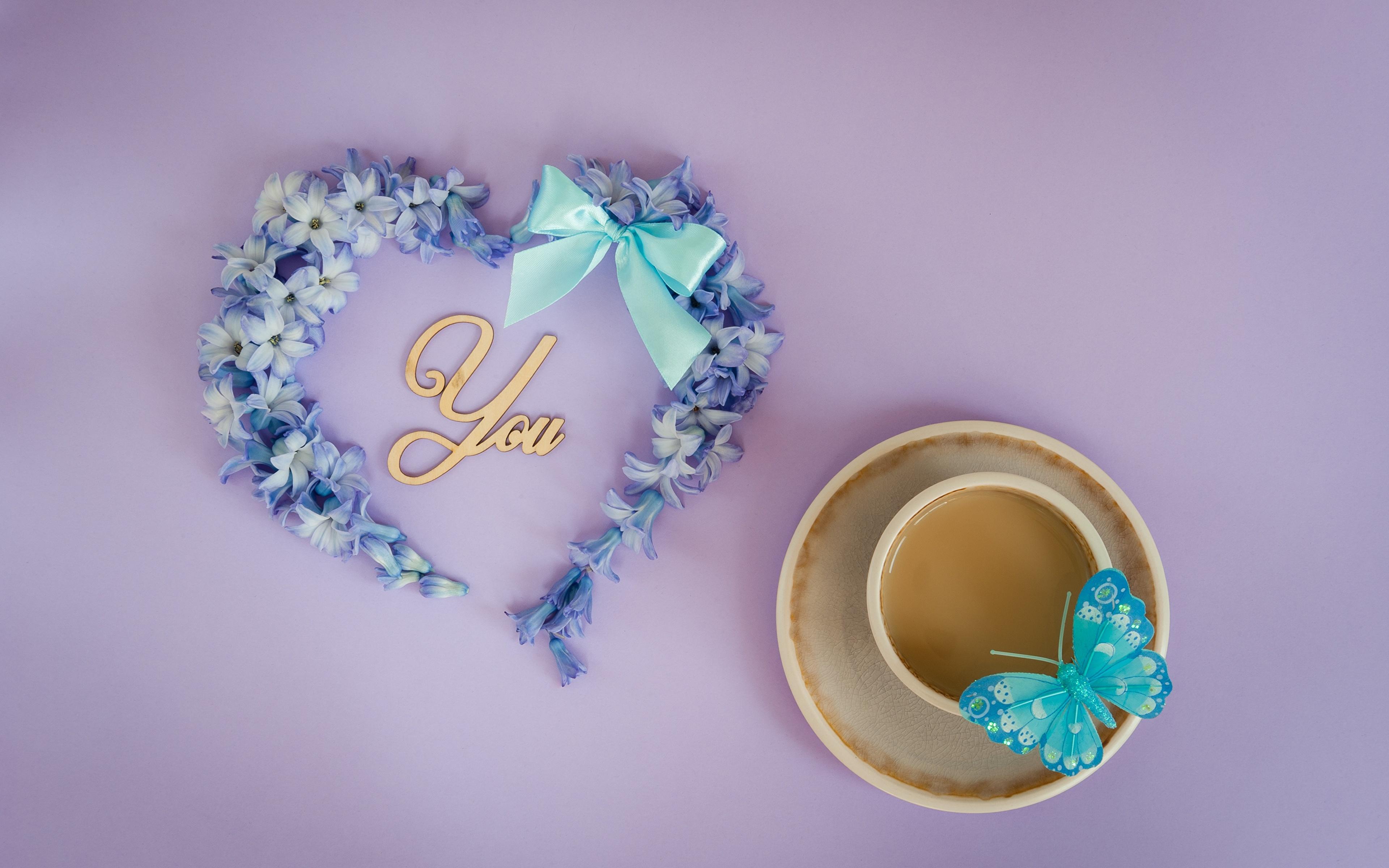 Обои для рабочего стола День святого Валентина бабочка Сердце чашке Бантик 3840x2400 День всех влюблённых Бабочки серце сердца сердечко бант Чашка бантики