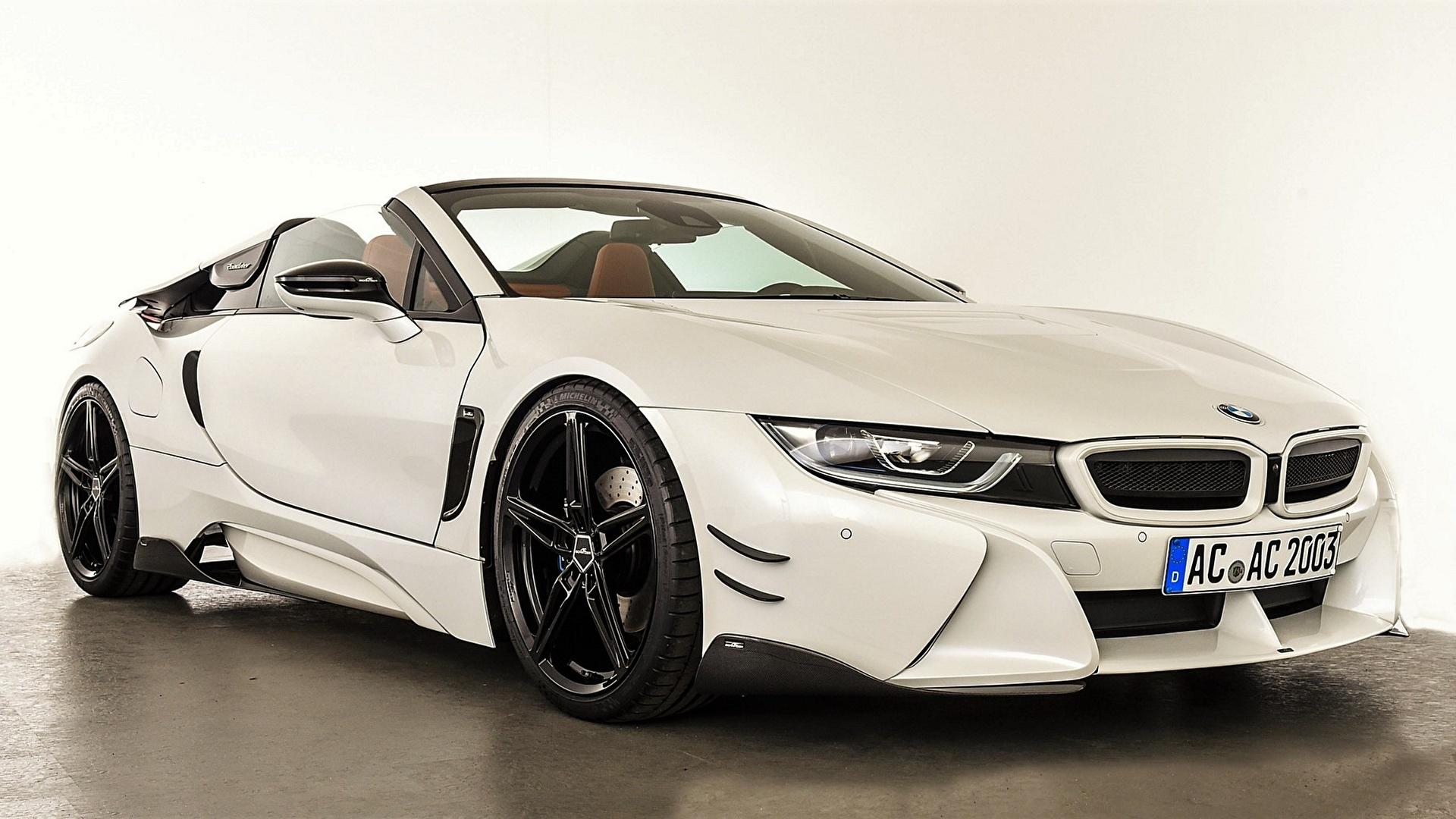 Фотография BMW AC Schnitzer i8 2019 Родстер Белый Автомобили 1920x1080 БМВ белых белые белая авто машина машины автомобиль