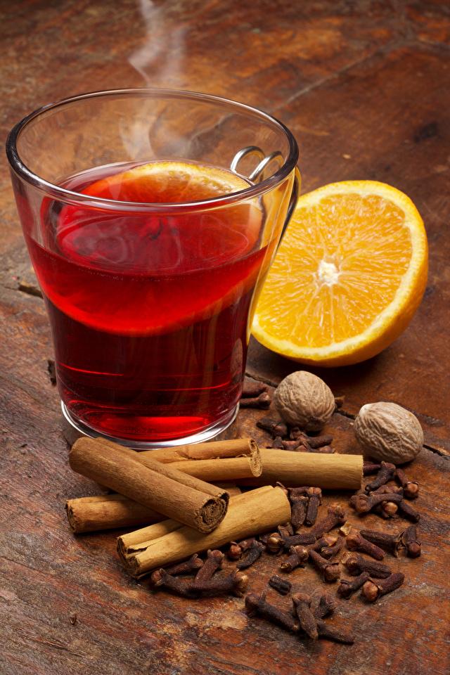 Фотографии Апельсин Корица стакана Еда Орехи напиток 640x960 для мобильного телефона Стакан стакане Пища Продукты питания Напитки