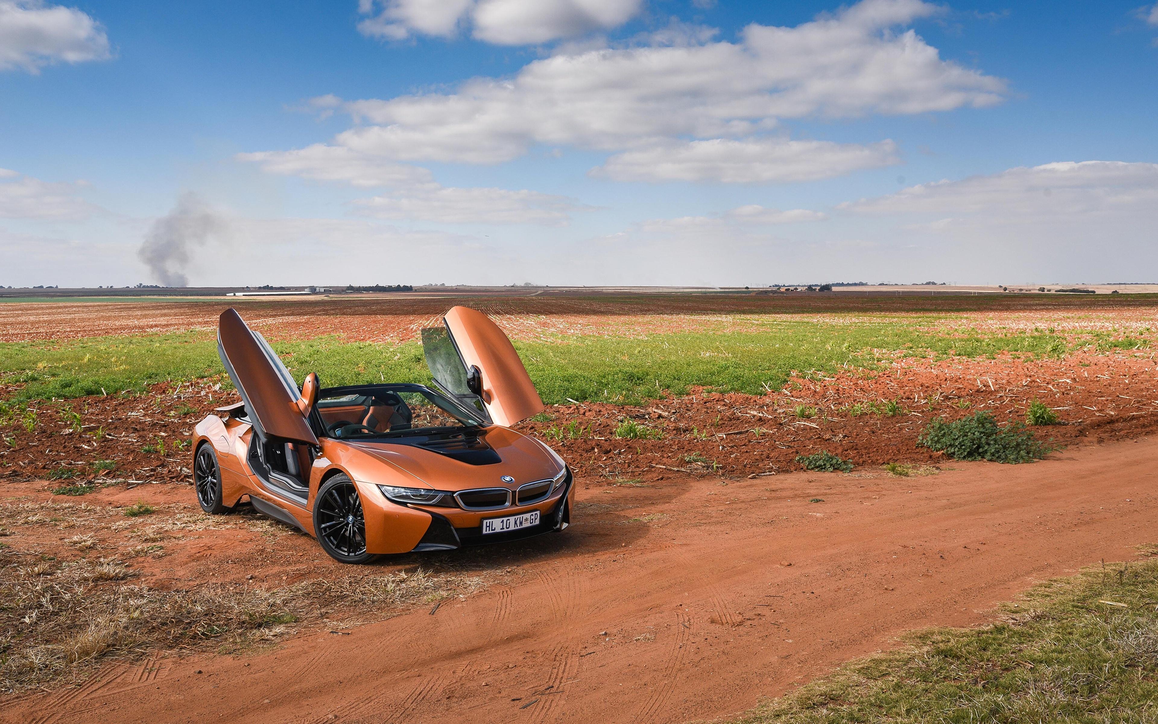 Картинки БМВ 2018 i8 Родстер Кабриолет Оранжевый автомобиль 3840x2400 BMW кабриолета оранжевых оранжевые оранжевая авто машина машины Автомобили