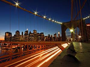 Картинка Мост Ночные Уличные фонари Города