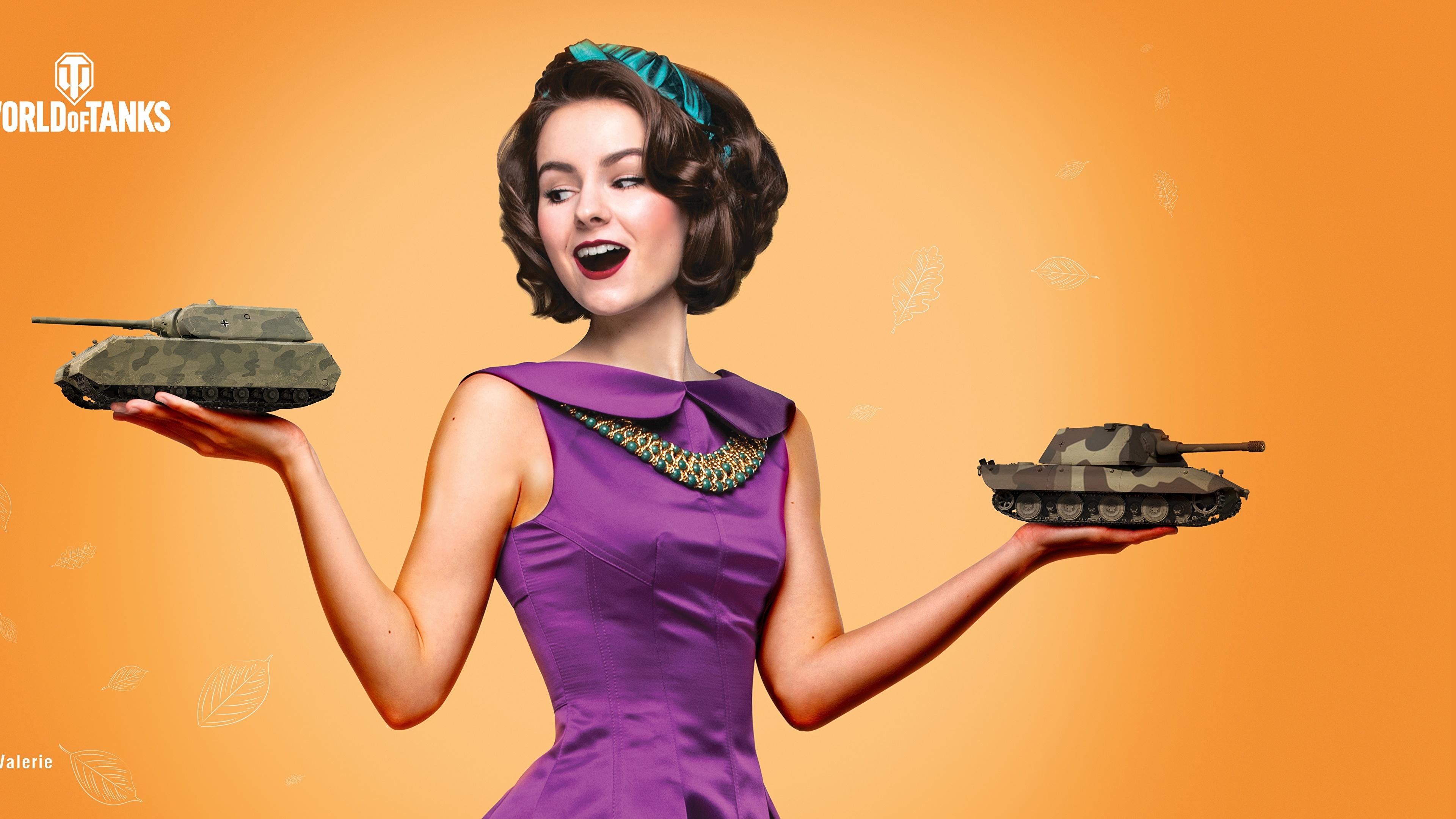 Фото World of Tanks День защитника Отечества Шатенка Valerie Причёска молодая женщина Игры Подарки Платье Цветной фон 3840x2160 WOT 23 февраля день победы шатенки прически девушка Девушки молодые женщины подарок подарков компьютерная игра платья