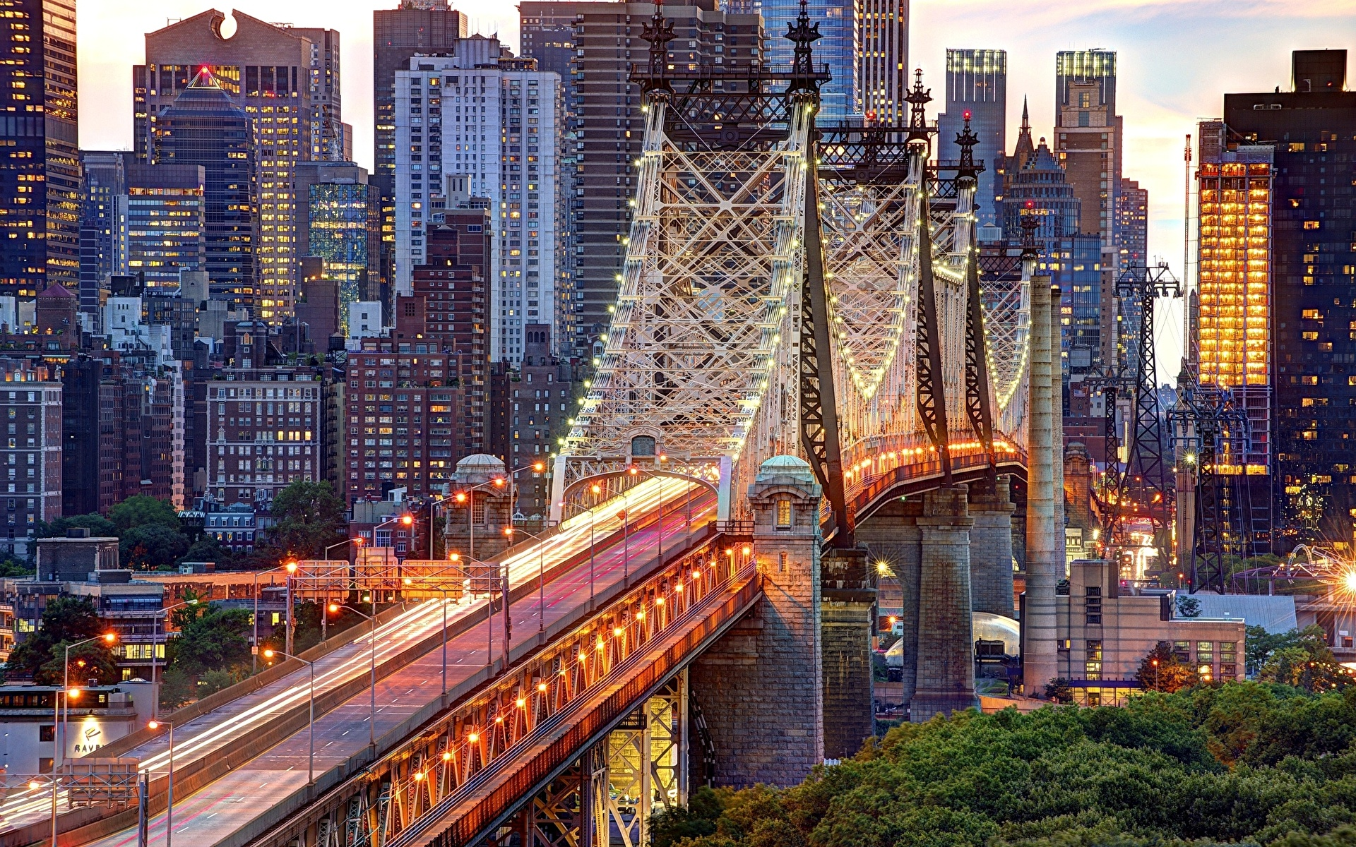 Обои для рабочего стола Нью-Йорк америка Manhattan Queensboro Мосты Здания Города 1920x1200 США штаты мост Дома город