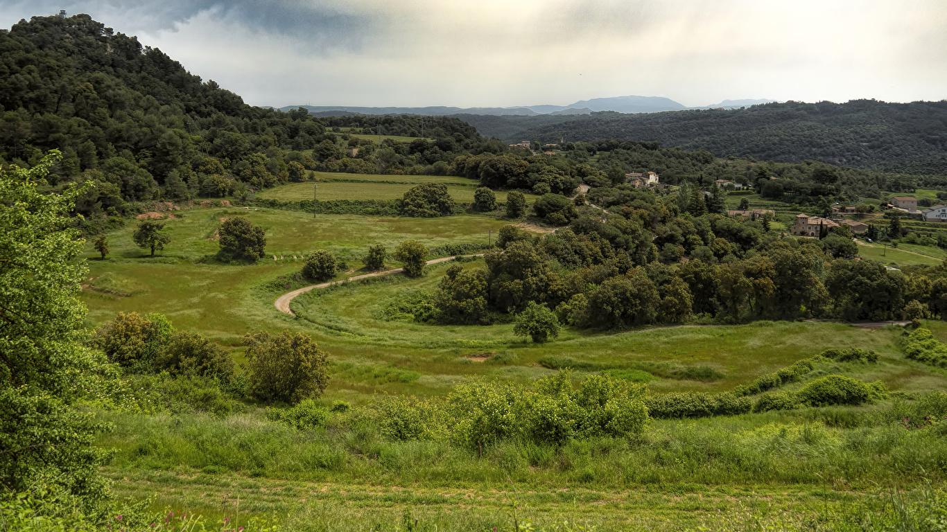 Фотография Испания Granera Catalonia Природа Леса Луга Трава Здания 1366x768 лес траве Дома
