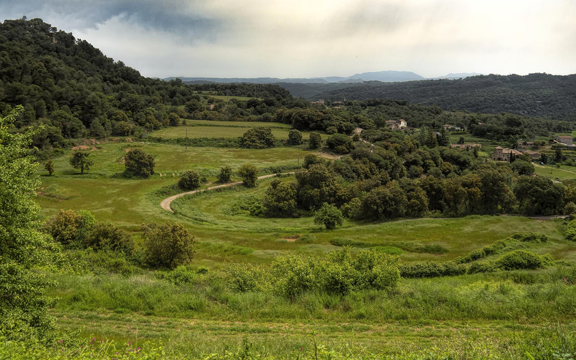Фотография Испания Granera Catalonia Природа Леса Луга траве Дома 1920x1200 Трава Здания