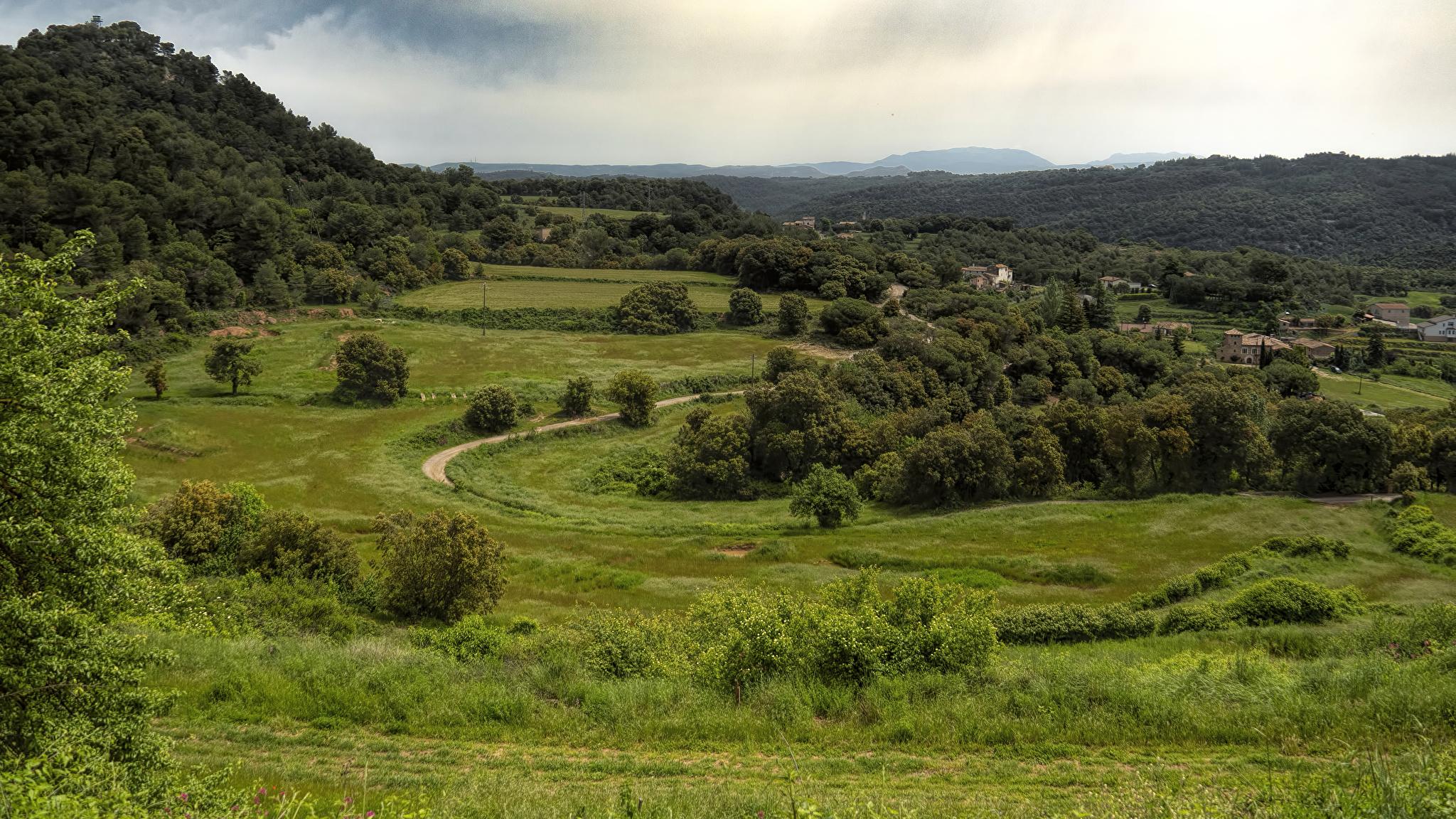 Фотография Испания Granera Catalonia Природа Леса Луга траве Дома 2048x1152 Трава Здания