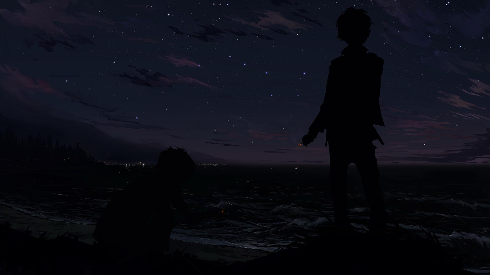 Обои мальчик силуэта Аниме в ночи 1920x1080 Мальчики мальчишки мальчишка Силуэт силуэты Ночь ночью Ночные