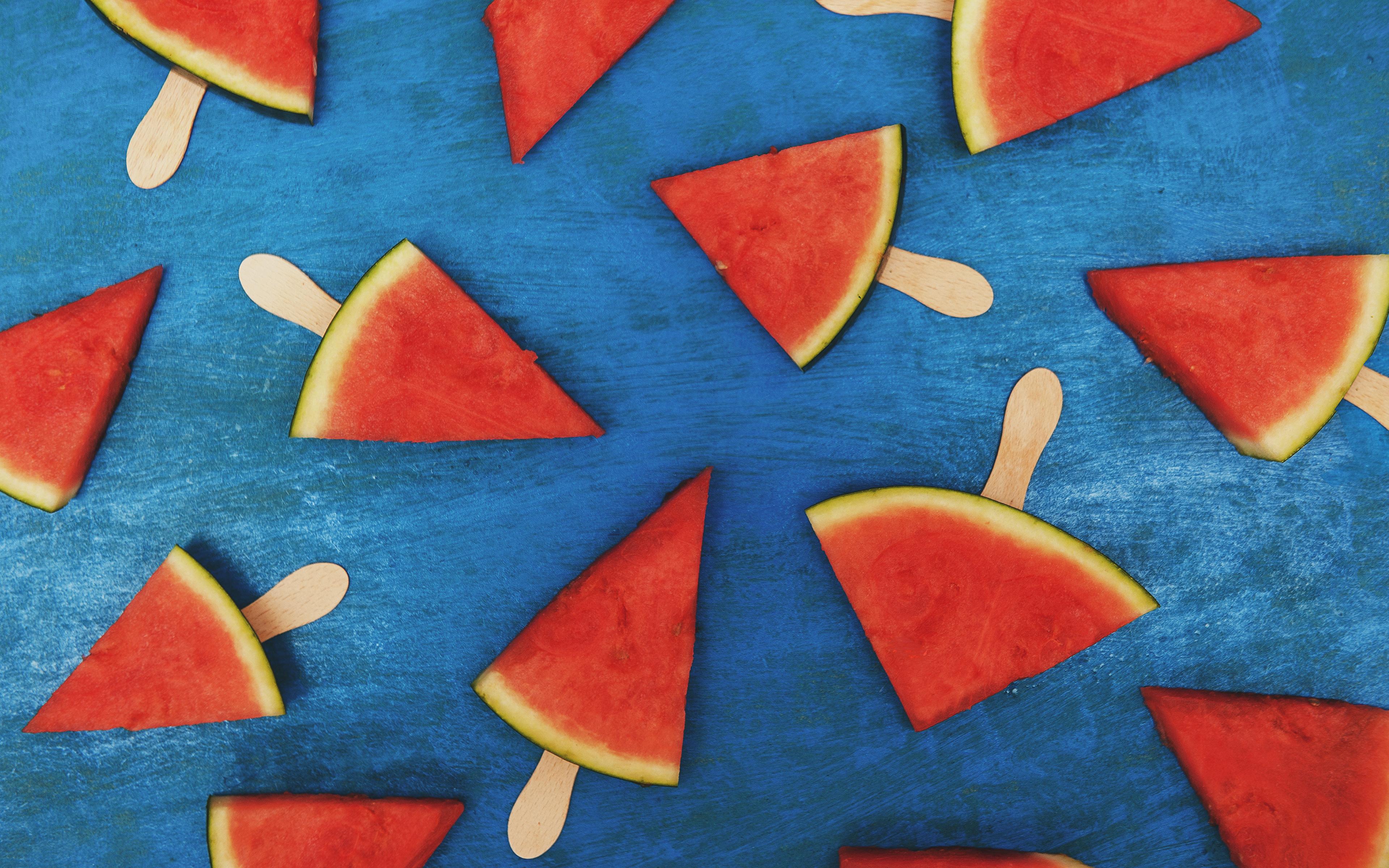 Фотография часть Арбузы Еда 3840x2400 Кусок кусочки кусочек Пища Продукты питания
