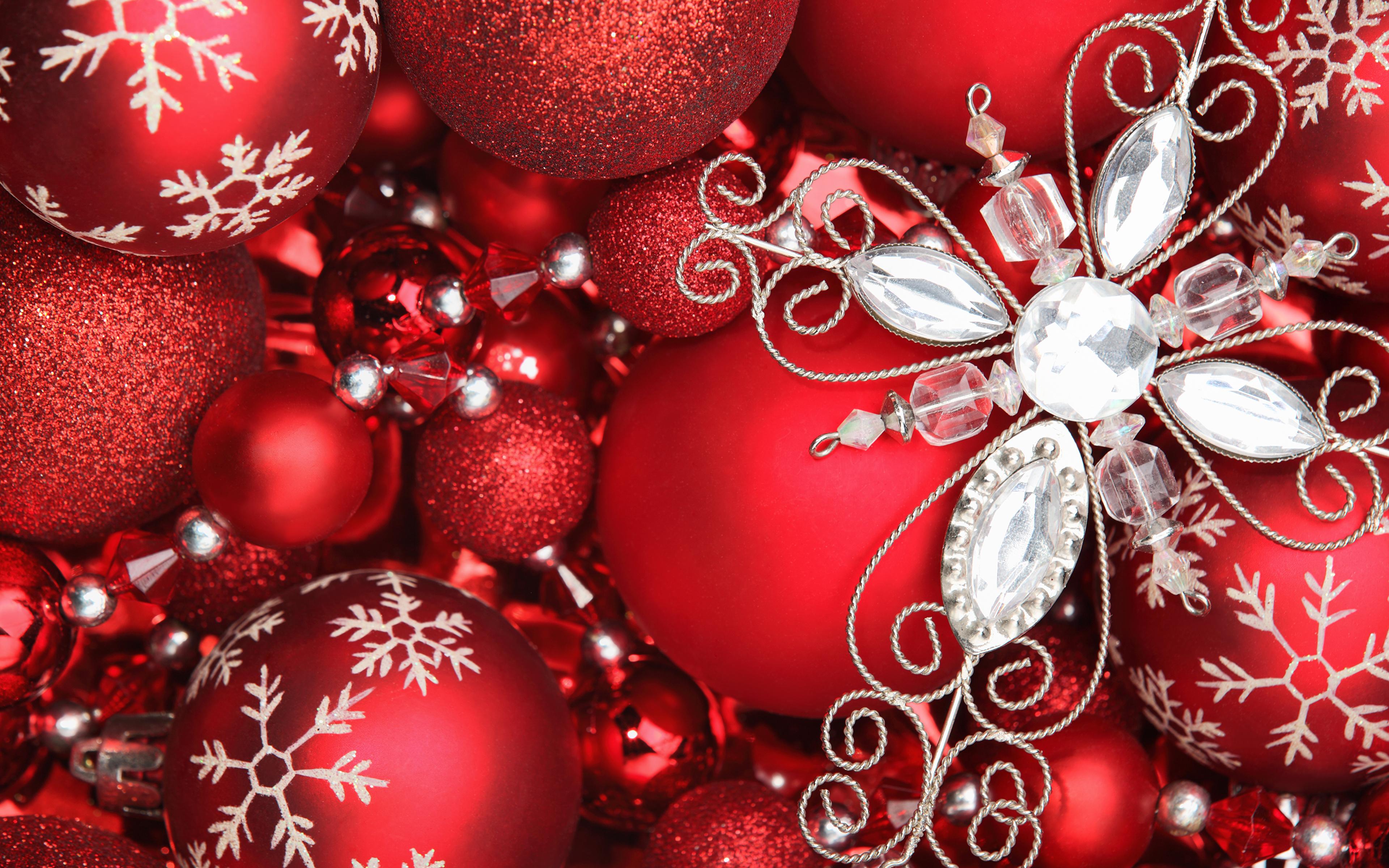 a70b5ca606d Обои Новый год Красный Шарики Много Праздники 3840x2400 Рождество Шар
