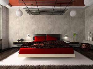 Фотографии Интерьер Кровать Подушка Комната Спальне Дизайн Хай-тек стиль 3D Графика