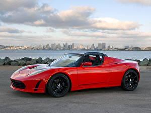 Картинки Тесла моторс Родстер Tesla Roadster машина